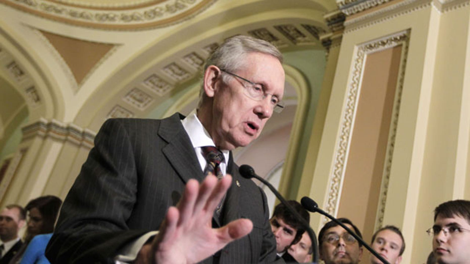 October 4:  Senate Majority Leader Harry Reid meets with reporters on Capitol Hill in Washington.