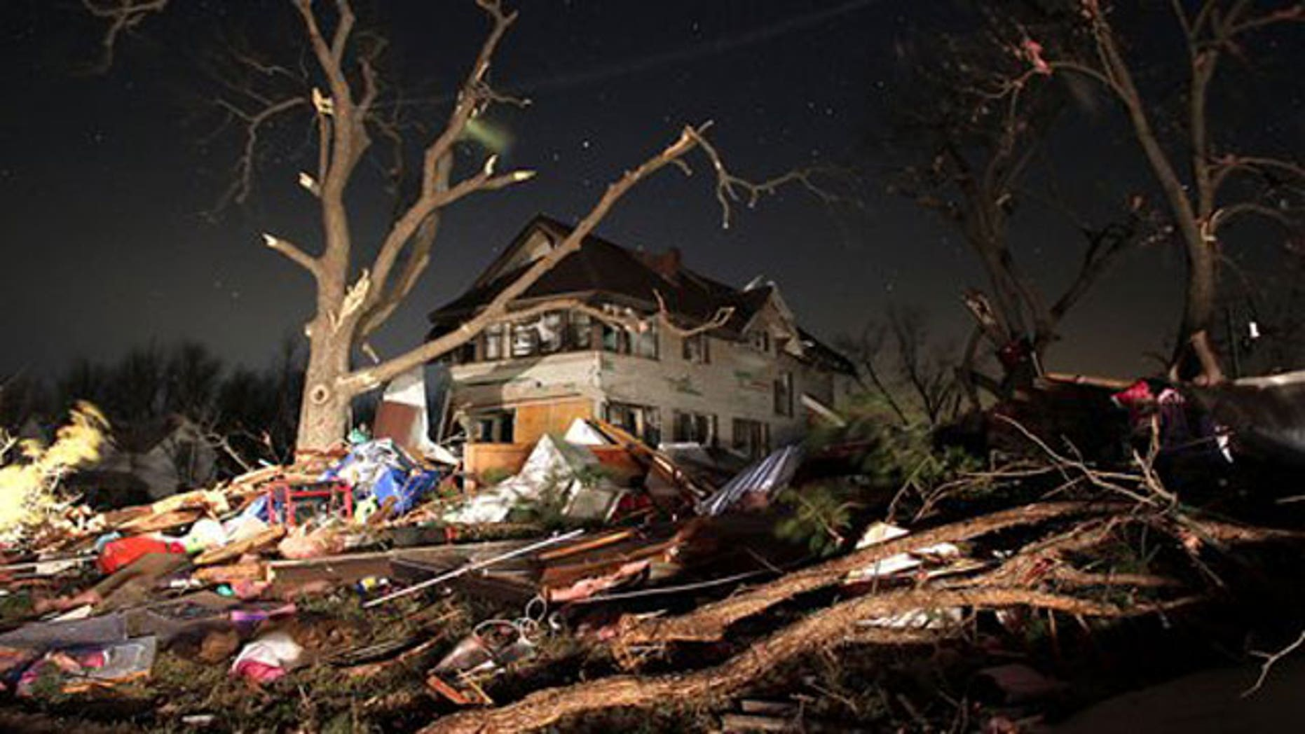 Feb. 29, 2012: Damage is seen in the town of Harveyville in Wabaunsee County Kansas after an apparent tornado passed through the town Tuesday night. Kansas Gov. Sam Brownback declared a state of emergency late Tuesday after an apparent tornado struck Harveyville, part of a powerful storm system that pounded the state's midsection.