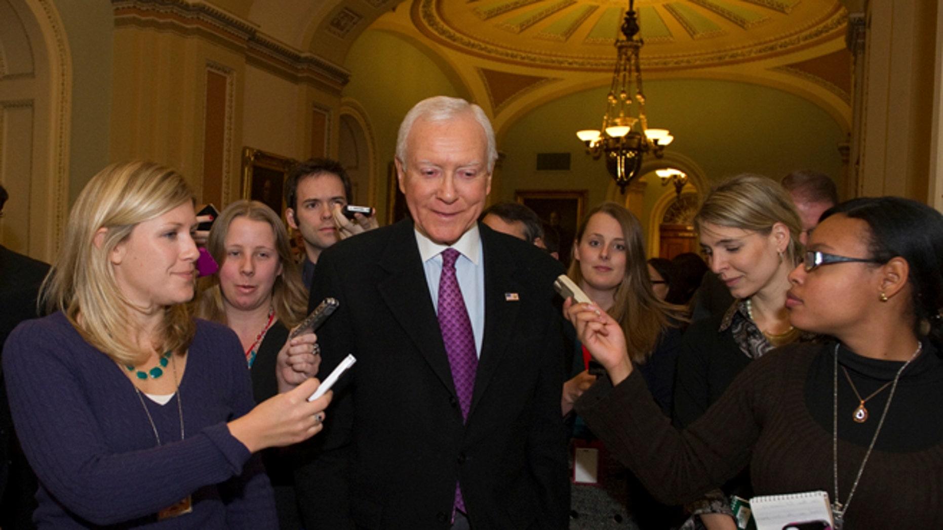FILE: Dec. 31, 2012: Sen. Orrin Hatch, R-Utah, in the hall of the U.S. Capitol, in Washington, D.C.