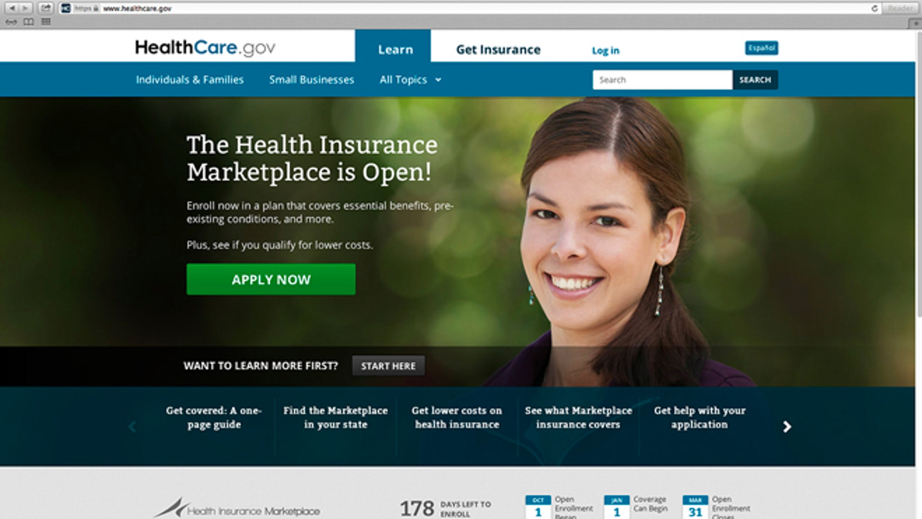 This photo provided by HHS shows the main landing web page for HealthCare.gov. The government's new health insurance marketplaces are drawing lots of rotten tomatoes in early reviews. But people are at least checking the things out. According to an AP-GfK poll, 7 percent of Americans report that somebody in their household has tried to sign up for insurance through the health care exchanges. While thatâs a small percentage, it could represent more than 20 million people. (AP Photo/HHS)