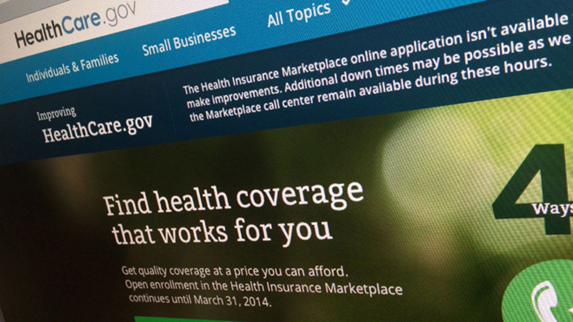 "FILE - This photo of part of the HealthCare.gov website is photographed in Washington, in this Nov. 29, 2013 file photo. Newly released federal figures, as of Nov. 30, 2013, show more people are picking private insurance plans or being routed to Medicaid programs in states with Democratic leaders who have fully embraced the federal health care law than in states where Republican elected officials have derisively rejected what they call ""Obamacare."" (AP Photo/Jon Elswick, File)"