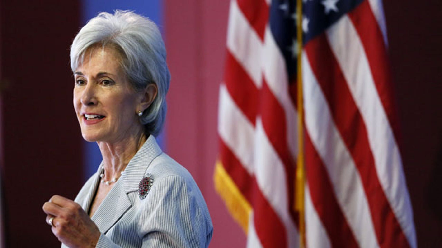 FILE - In this Aug. 22, 2013, file photo, Health and Human Services Secretary Kathleen Sebelius speaks during an event discussing the federal health care overhaul in Philadelphia. (AP Photo)