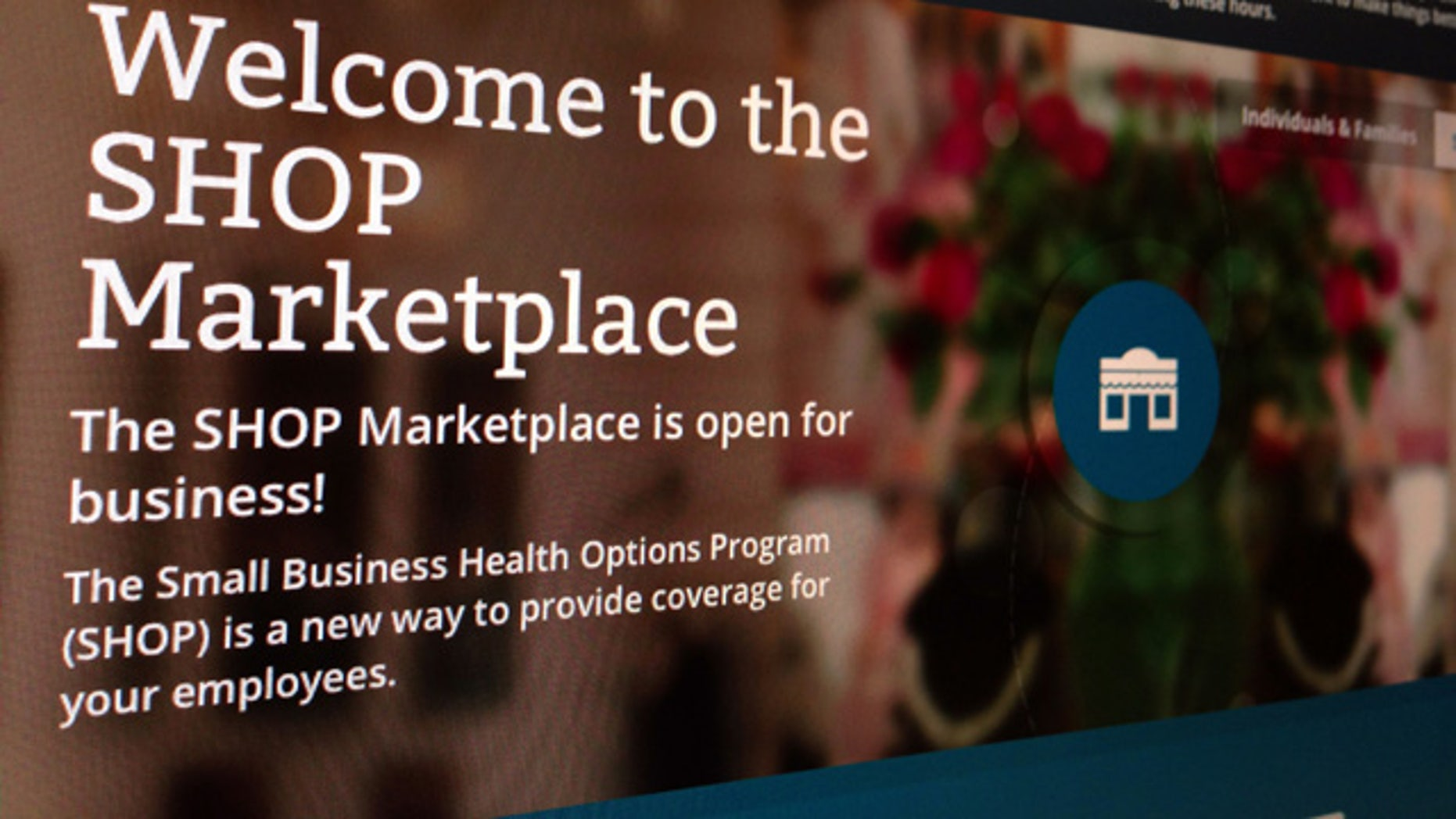 FILE - This Wednesday, Nov. 27, 2013, file photo, taken in Washington, shows part of the HealthCare.gov website page featuring information about the SHOP Marketplace. (AP Photo/Jon Elswick, File)