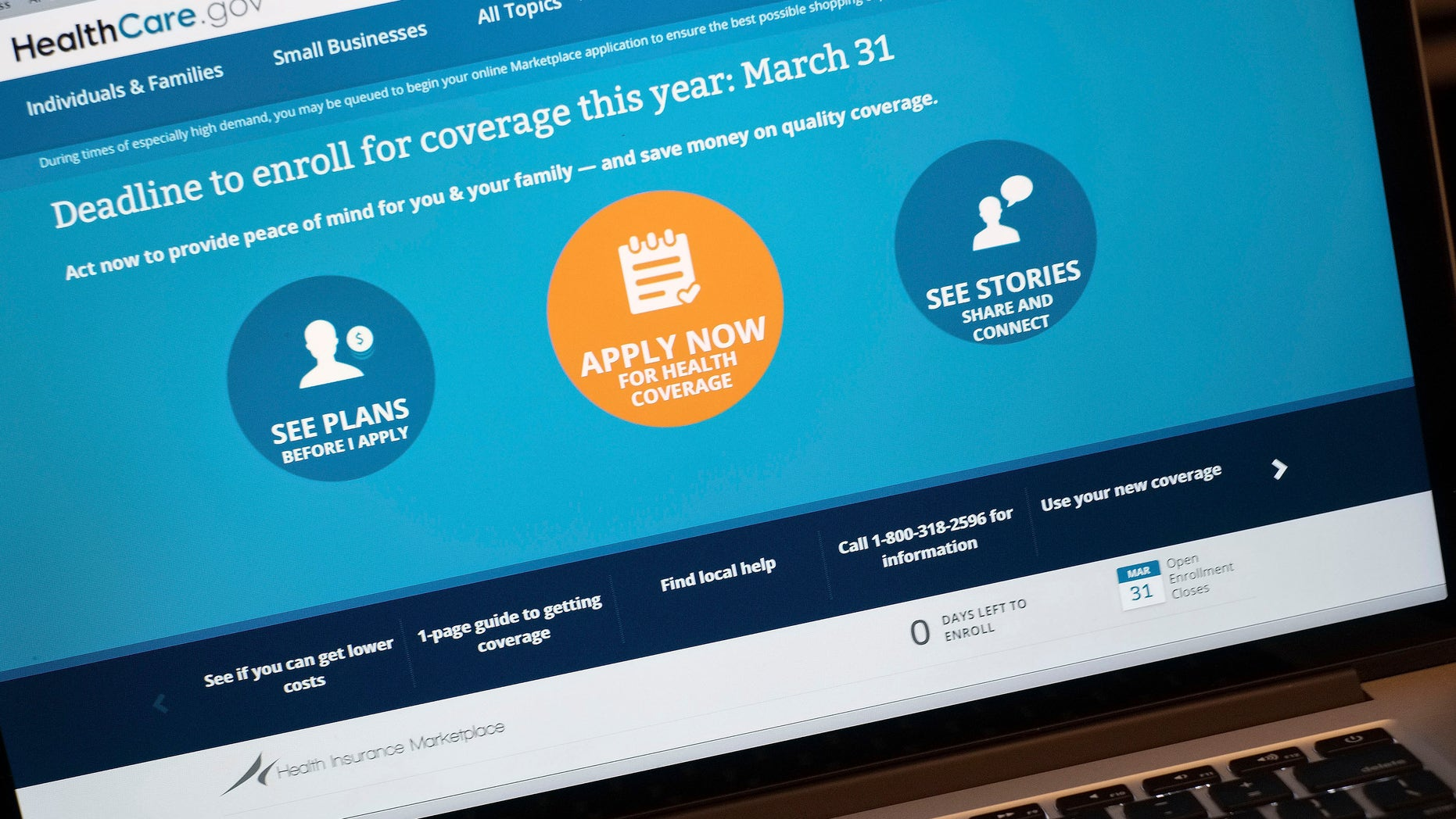 The HealthCare.gov website is shown on a laptop in Washington, Monday, March 31, 2014. Today is the deadline to sign up for private heath insurance in the online markets created by President Obama's heath care law or face a federal fines.