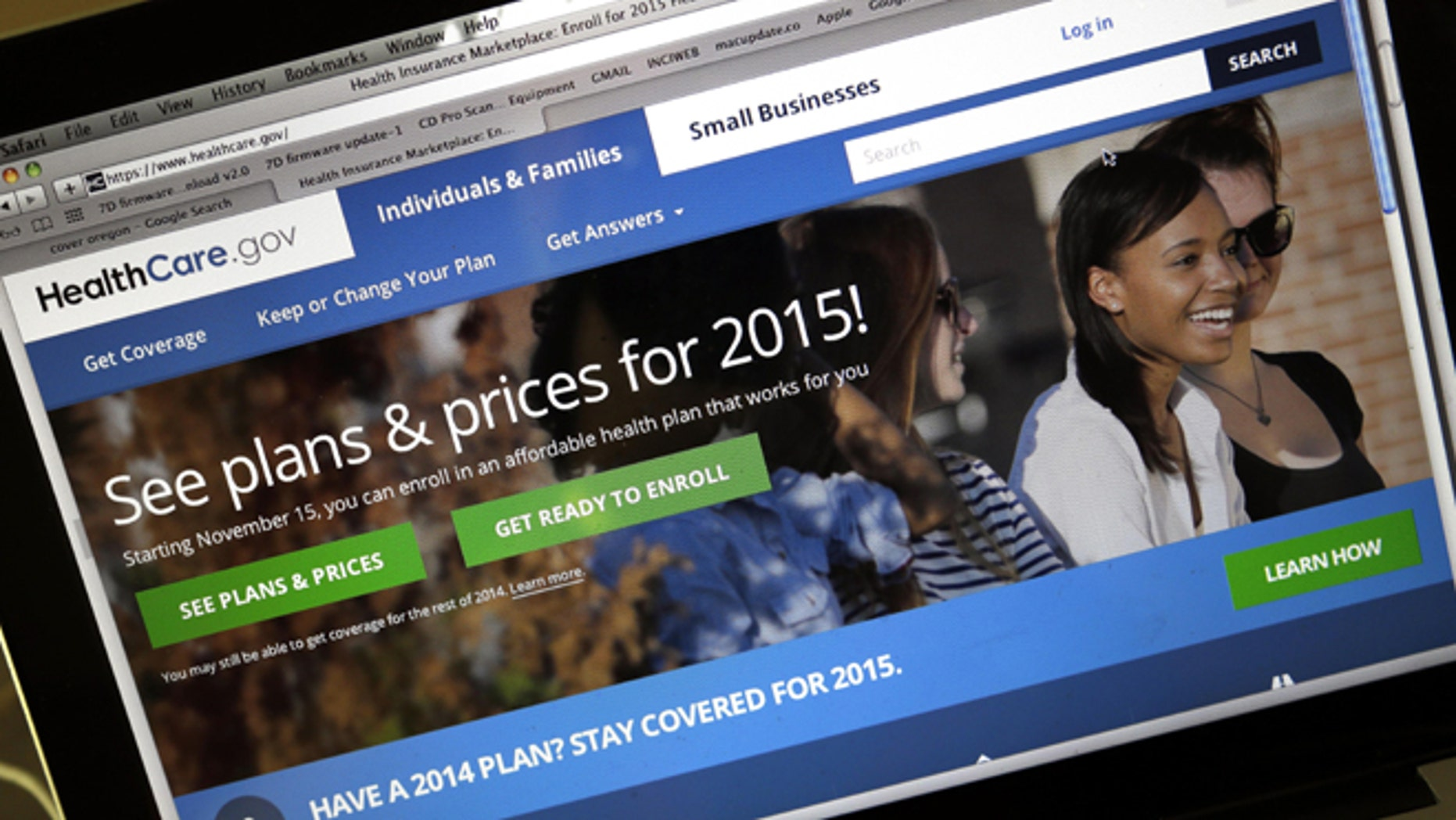 Nov. 12, 2014: HealthCare.gov website, where people can buy health insurance, on a laptop screen, is seen in Portland, Ore.