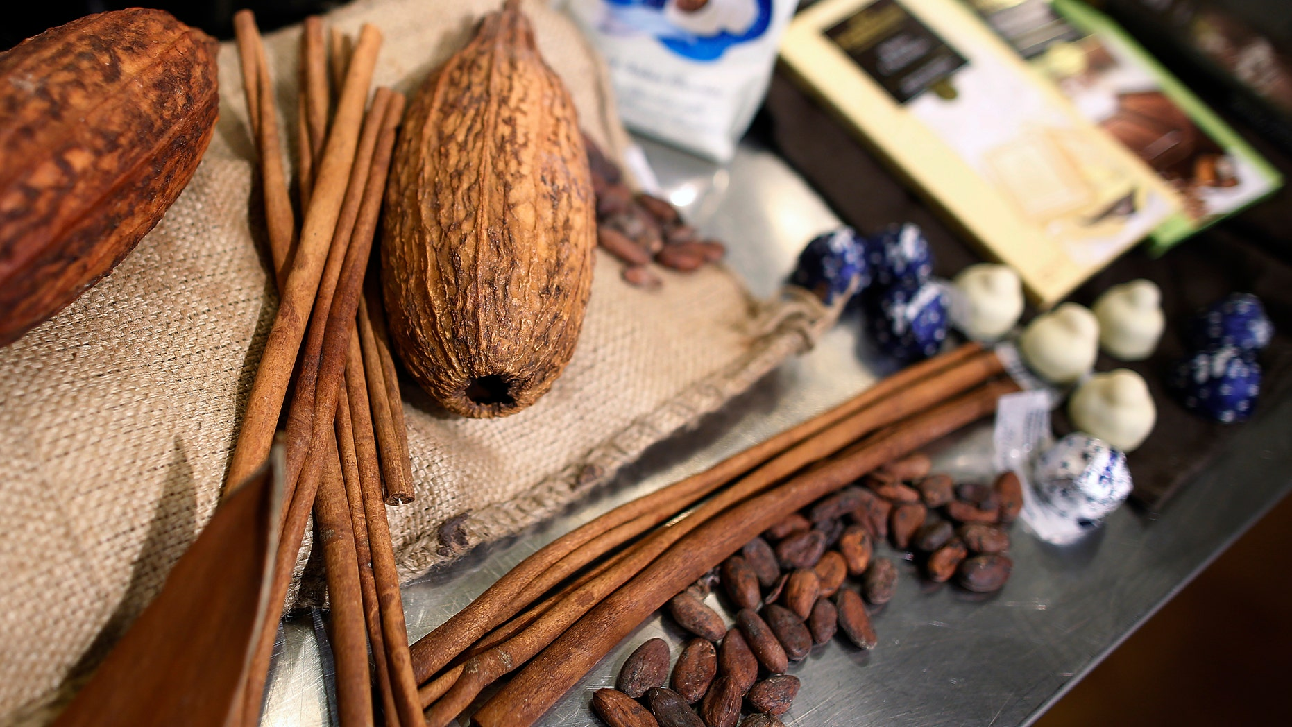 Chocolate beans and pods are displayed in New York.
