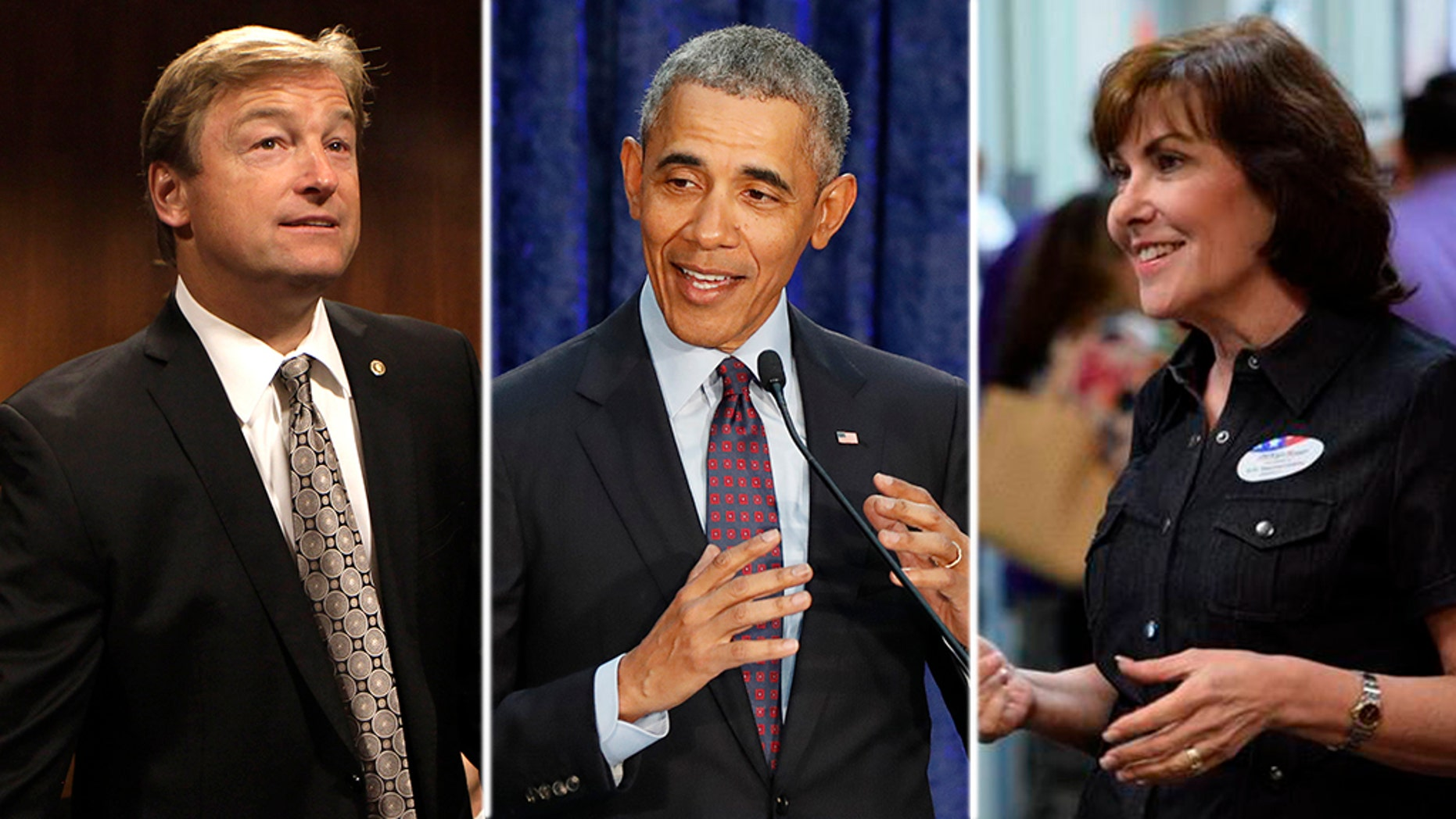 """Nevada Republican Sen. Dean Heller (left) is using Barack Obama's infamous """"you didn't build that"""" line to mock Democratic Rep. Jacky Rosen's (right) claims to have started her own business."""
