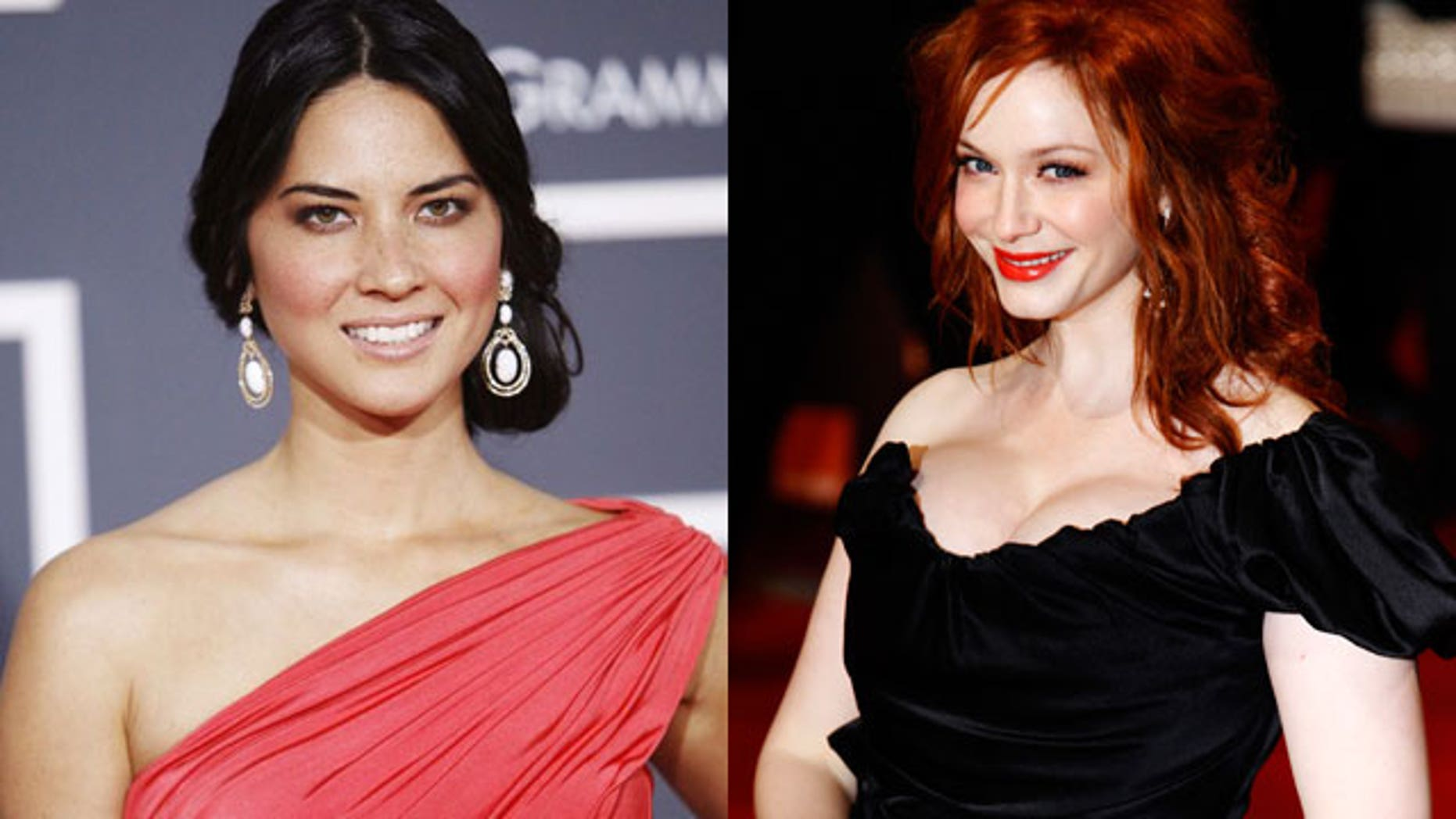 L to R Olivia Munn and Christina Hendricks