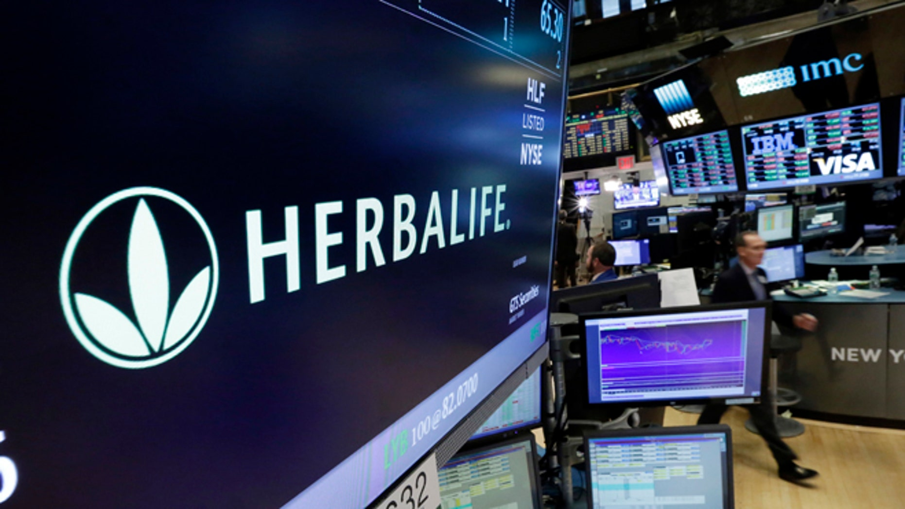 FILE - In this May 6, 2016 file photo, the Herbalife logo appears above the post where it trades on the floor of the New York Stock Exchange.   The Federal Trade Commission is closing an investigation of Herbalife and the multinational, nutritional supplements company will to pay $200 million to settlement allegations that it deceived consumers.  The company said in a written statement on Friday, July 15,  that the FTC settlement doesnââ¬â¢t change its business model as a direct selling company. (AP Photo/Richard Drew)