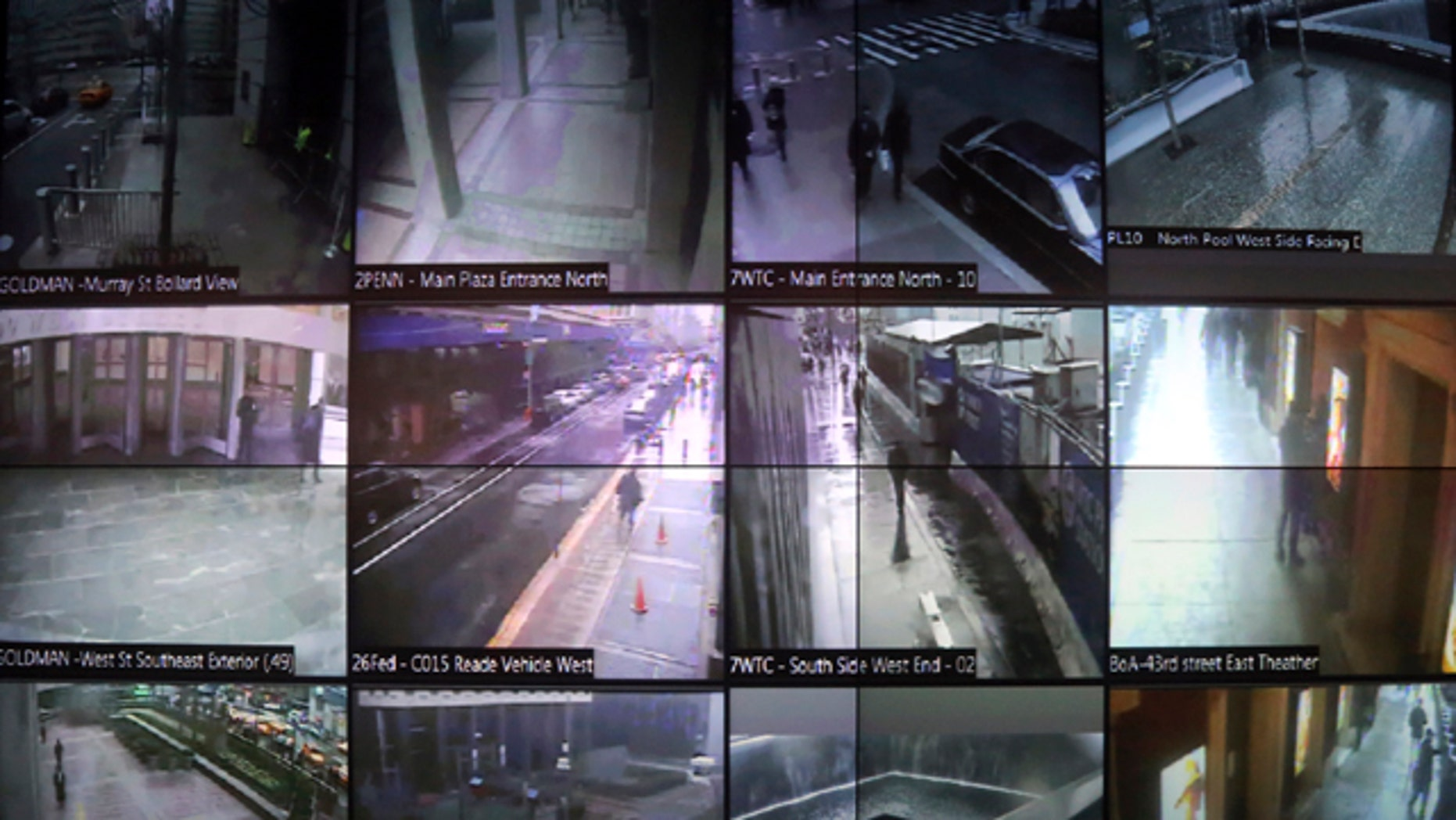 Feb. 19, 2013: A detail of a video wall that shows New York city police officers an interactive map of the area, security footage from nearby cameras, locations where high radiation levels are detected and whether any other threats have been made in New York.