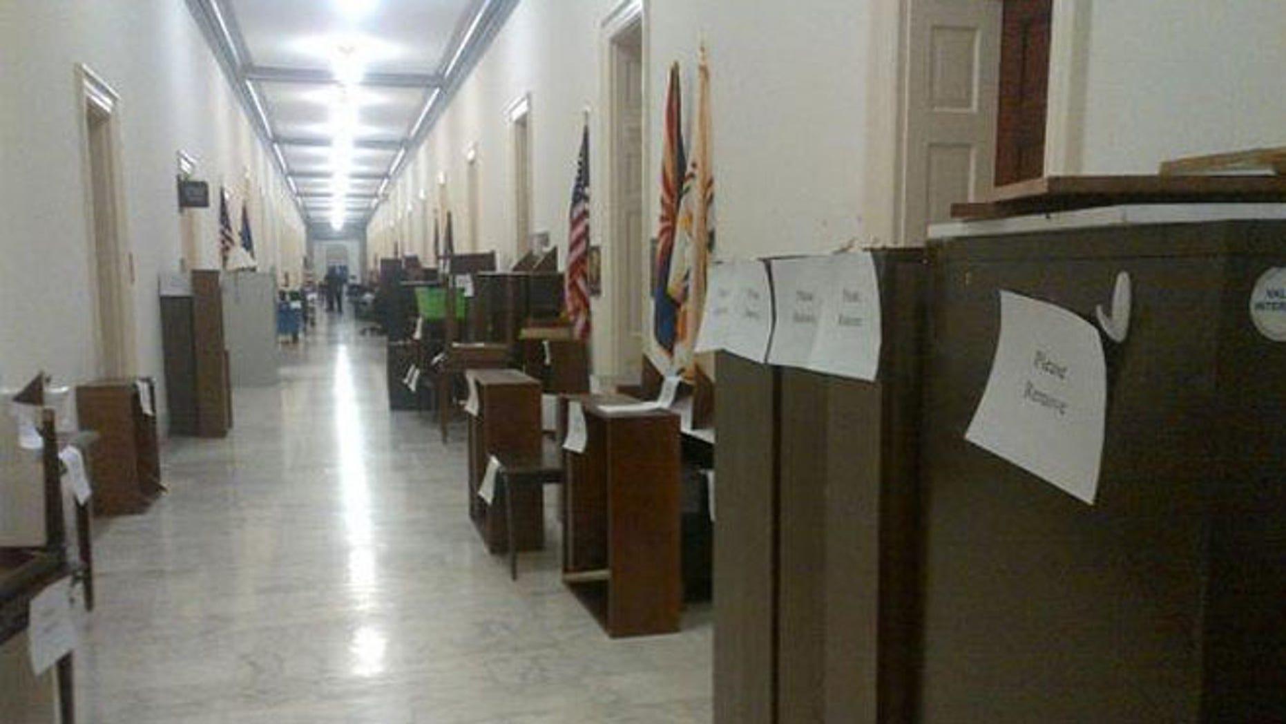 Dec. 19, 2014: A hallway of a Capitol Hill office building, Washington, D.C.