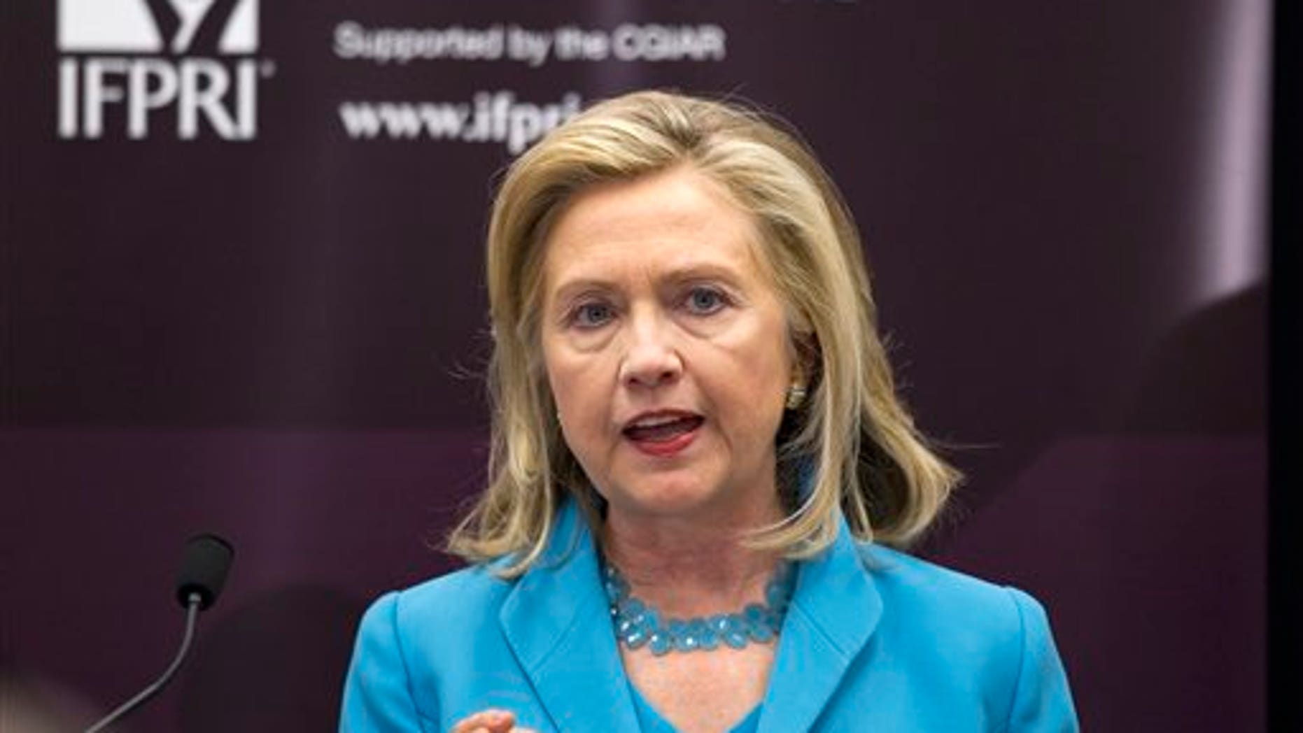 August 11: Secretary of State Hillary Rodham Clinton during a speech on the humanitarian crisis in East Africa at the International Food Policy Research Institute in Washington.