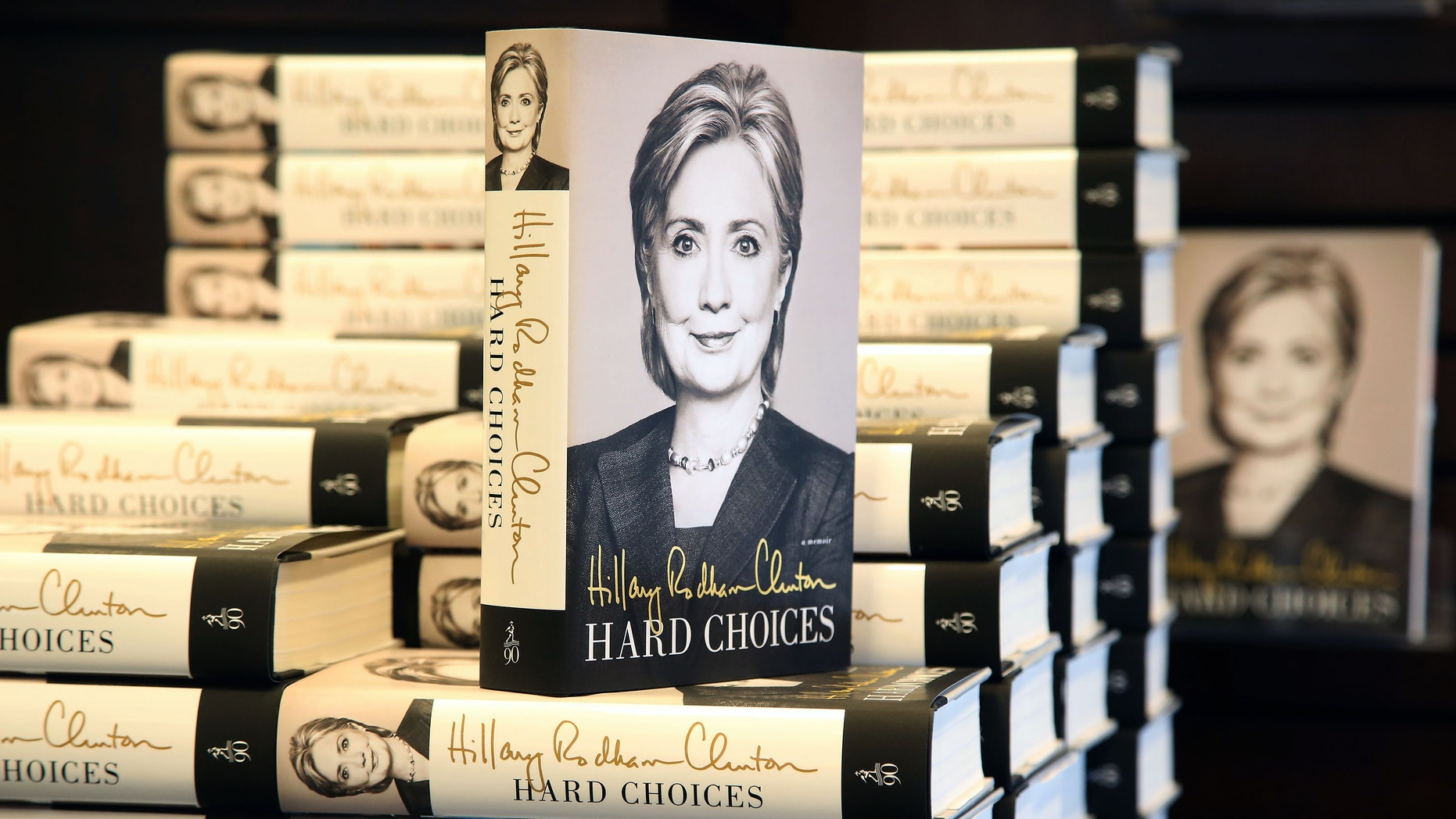 """June 19, 2014 - Former Secretary of State Hillary Rodham Clinton's new book """"Hard Choices,"""" on her time as President Barack Obama's top diplomat, on sale at a book signing in Los Angeles."""