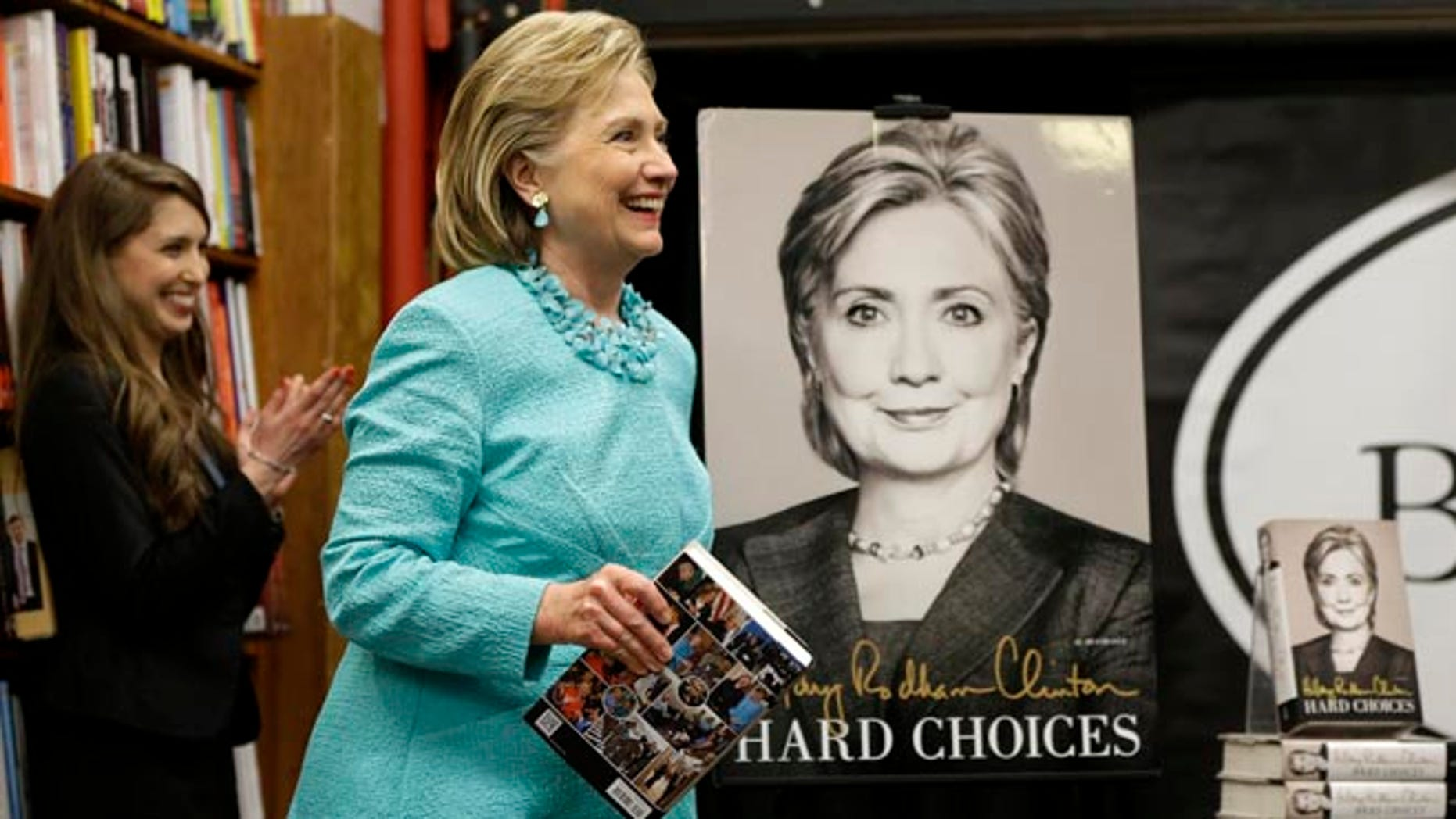 """HiIlary Rodham Clinton at a book signing for her new book """"Hard Choices"""" at Harvard Book Store, Monday, June 16, 2014, in Cambridge, Mass."""