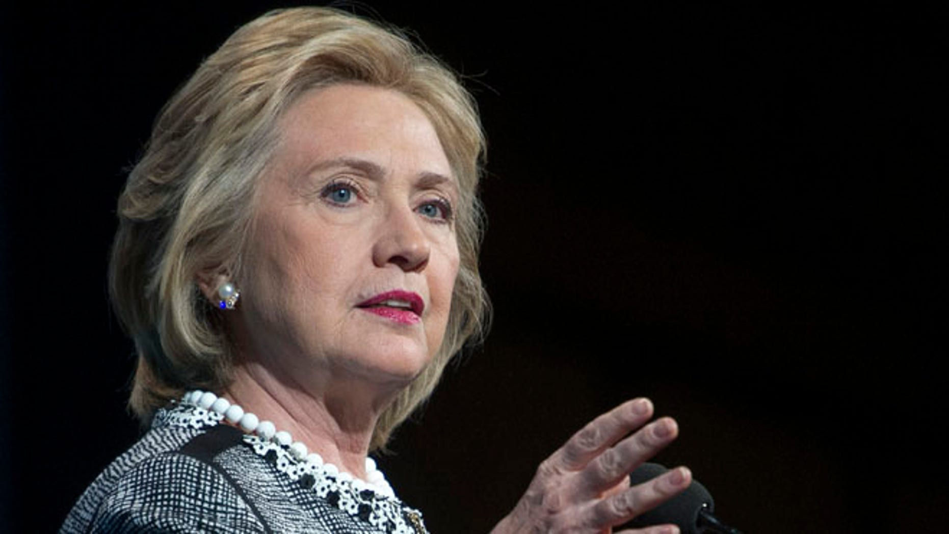 This May 14, 2014, file photo shows former Secretary of State Hillary Rodham Clinton speaking in Washington.