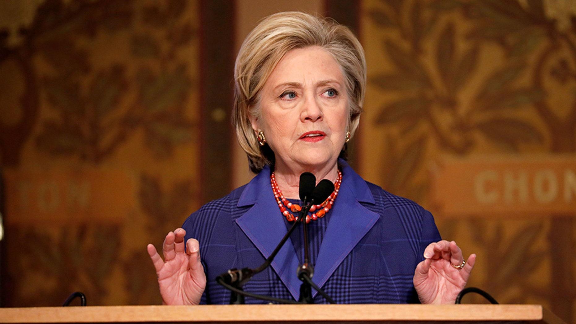 Hillary Clinton speaks at Georgetown University in Washington, Feb. 5, 2018.
