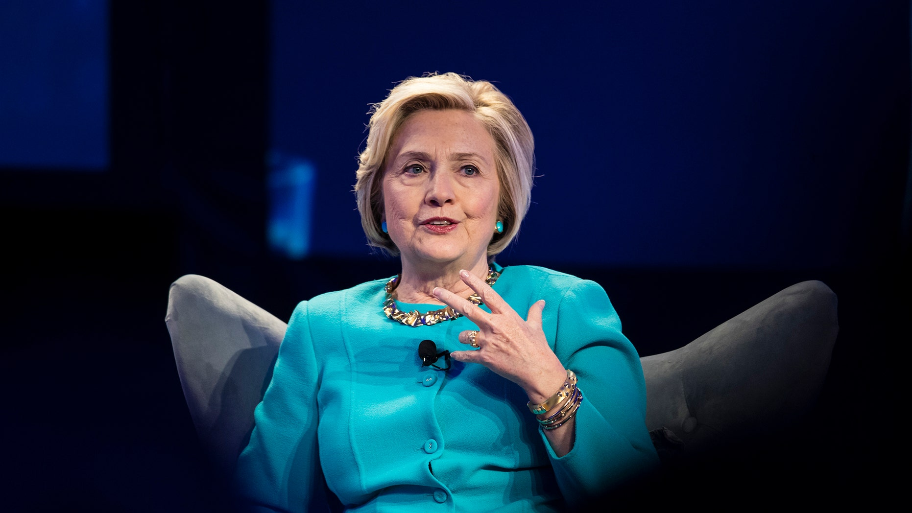 Hillary Clinton at the Geisinger's National Healthcare Symposium in Danville, Pa., Thursday, Nov. 9, 2017. (AP Photo/Matt Rourke)