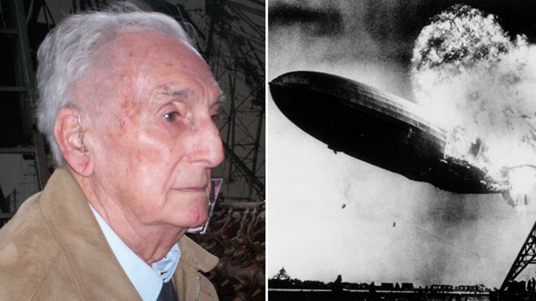An undated photo, left, provided by John Provan shows Werner Franz, the last surviving crew member of the Hindenburg airship disaster, right, 77 years ago. Franz died Aug. 13 in Frankfurt, Germany. Franz was a cabin boy on the Hindenburg, making three journeys to South America and one to North America before the disaster. (AP Photo/dpa, John Provan)