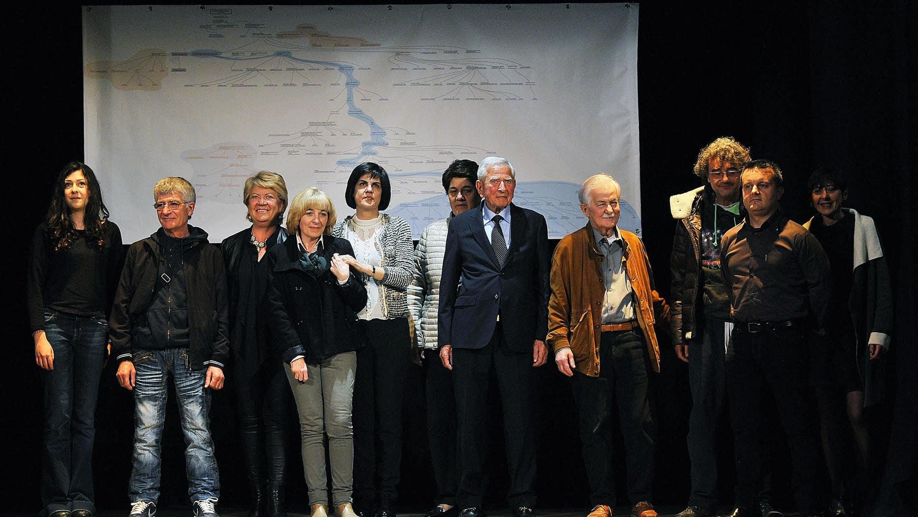 Descendants of Leonardo da Vinci pose at the theater of Vinci, near Florence, Italy, on Thursday.