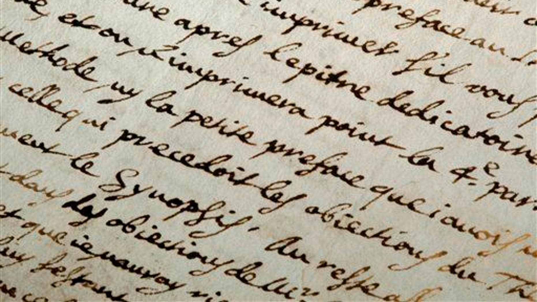 This May 6, 2010, photo shows a letter signed by French philosopher Rene Descartes in Haverford, Pa.