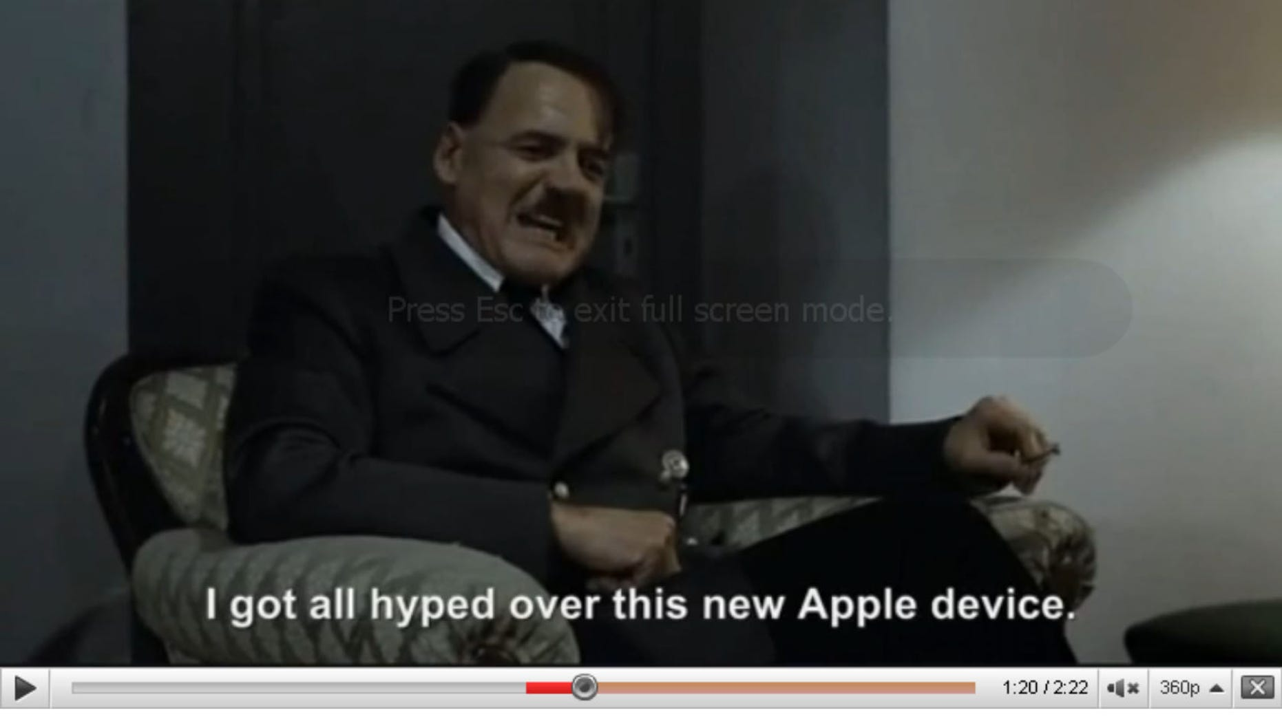 As the character playing Hitler lashes out in German, the subtitles in English from the original movie are replaced to indicate a completely different reason for the Fuhrer's rage.