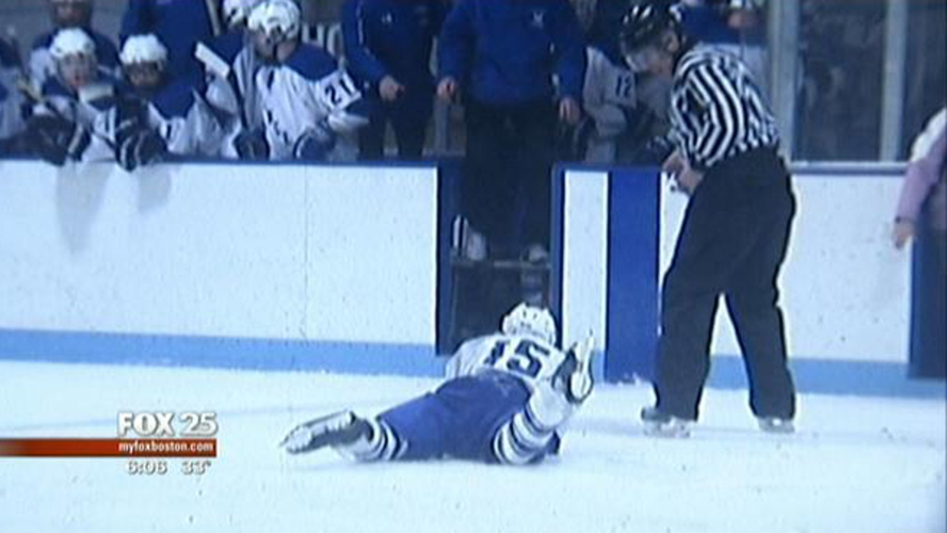 This image shows Brady Barron moments after his artery was severed by another player's skate.