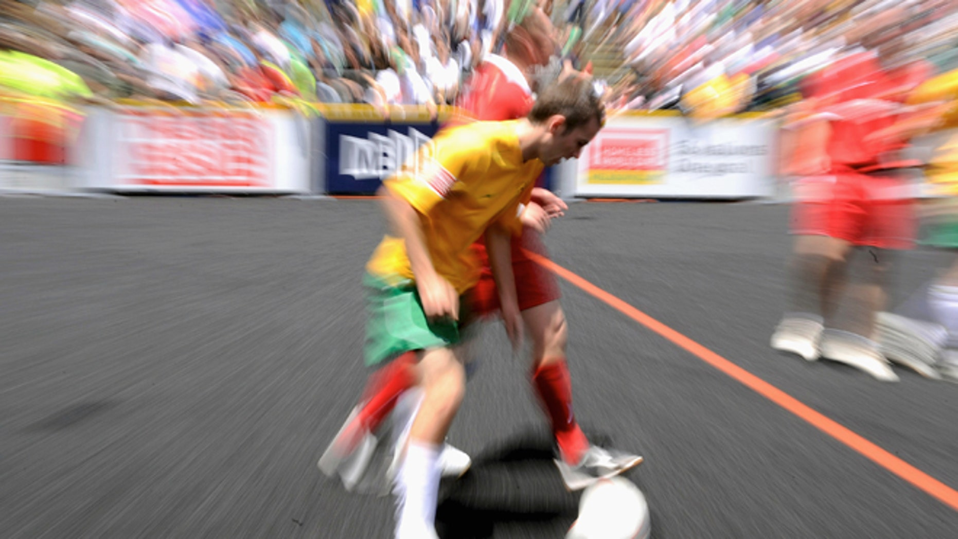 MELBOURNE, AUSTRALIA - DECEMBER 03: Coen Slaughter of Australia controls the ball during the Australia and the Czech Republic at the 2008 Homeless World Cup at Federation Square on December 3, 2008 in Melbourne, Australia.  (Photo by Robert Cianflone/Getty Images)