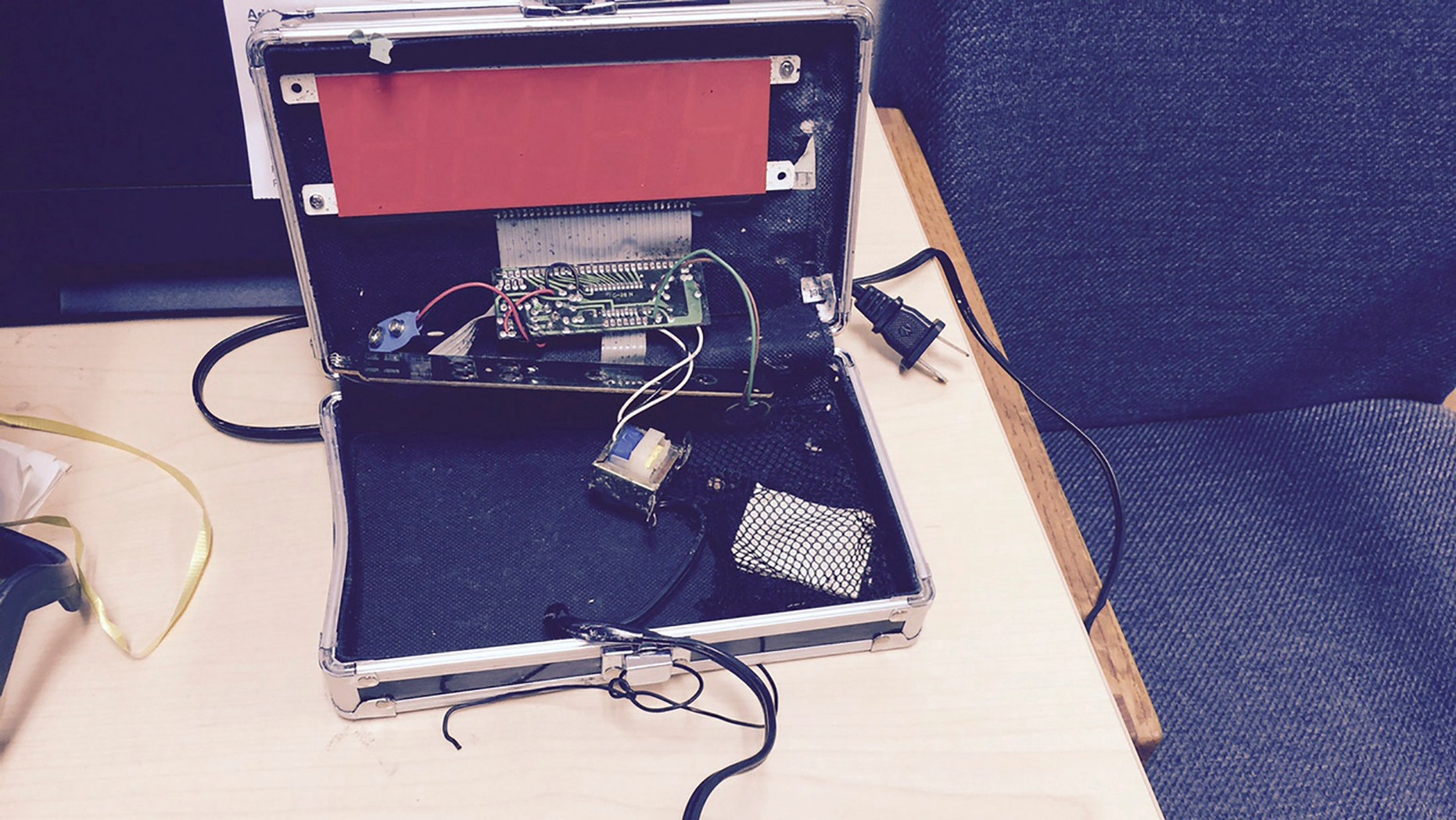 A homemade clock made by Ahmed Mohamed, 14, is seen in an undated picture released by the Irving Texas Police Department Sept.16, 2015.
