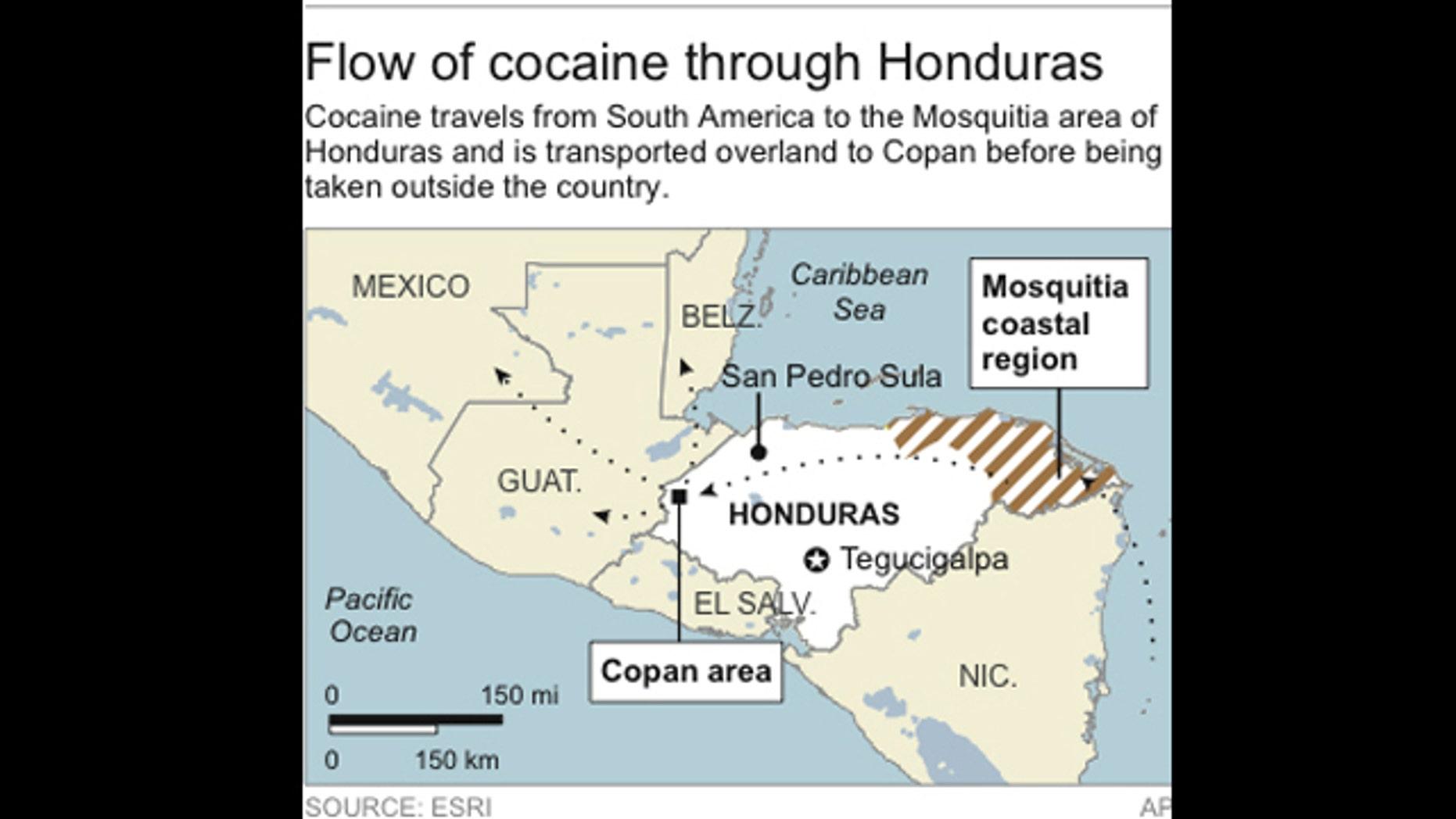 Map locates the Mosquitia coastal area and Copan area in Honduras