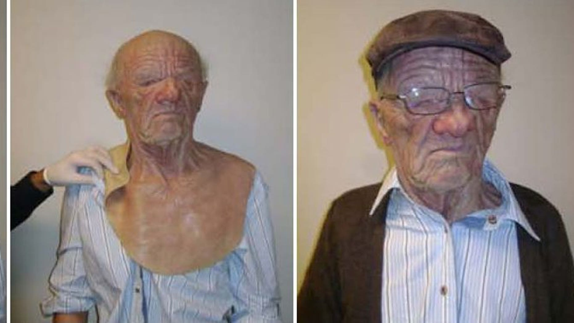 This undated combination of photos released by the Canada Border Services Agency shows a young man who boarded an Air Canada flight in Hong Kong while elaborately disguised as an elderly male. Hong Kong authorities have arrested eight people suspected of helping smuggle the young Chinese passenger onto the flight to Canada.