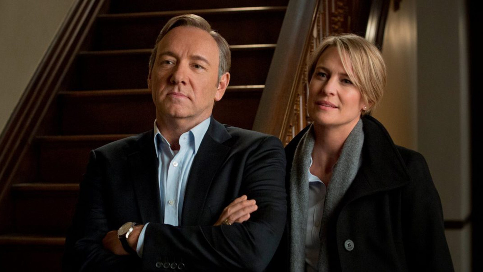 """Kevin Spacey and Robin Wright as Frank Underwood and Claire Underwood, respectively, in the Netflix show """"House of Cards."""""""