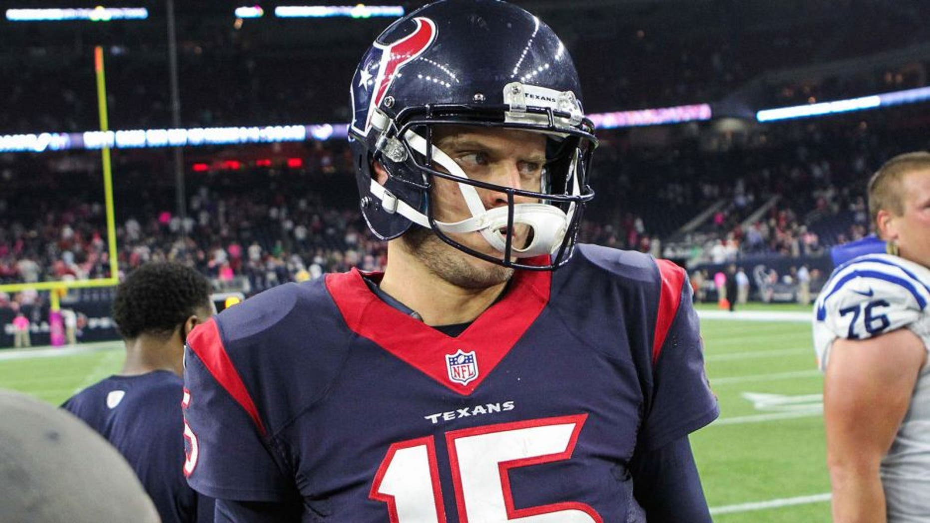 Oct 8, 2015; Houston, TX, USA; Houston Texans quarterback Ryan Mallett (15) after a game against the Indianapolis Colts at NRG Stadium. Mandatory Credit: Troy Taormina-USA TODAY Sports