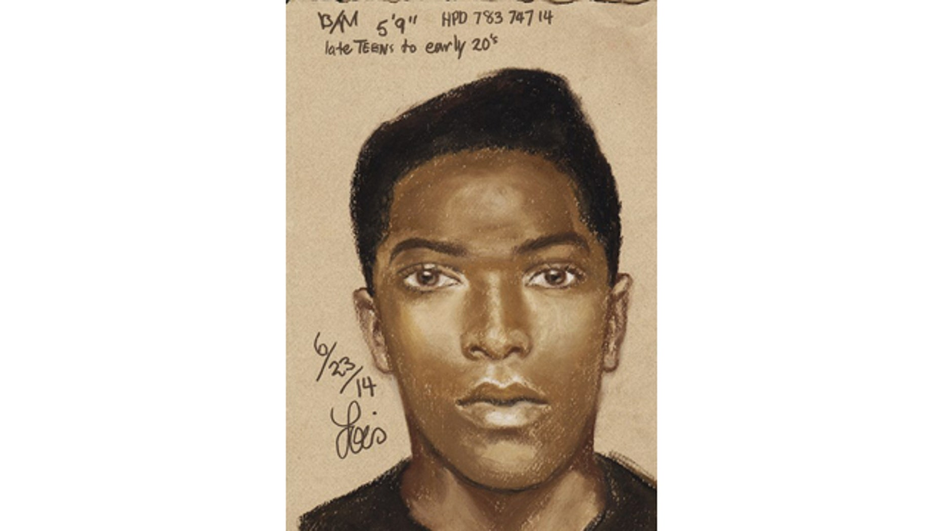 June 23, 2014:Houston Police have released this sketch of a man suspected of leaving an 8-month-old baby in the woods after he stole her mother's car. (Houston Police Department/MyFoxHouston.com)