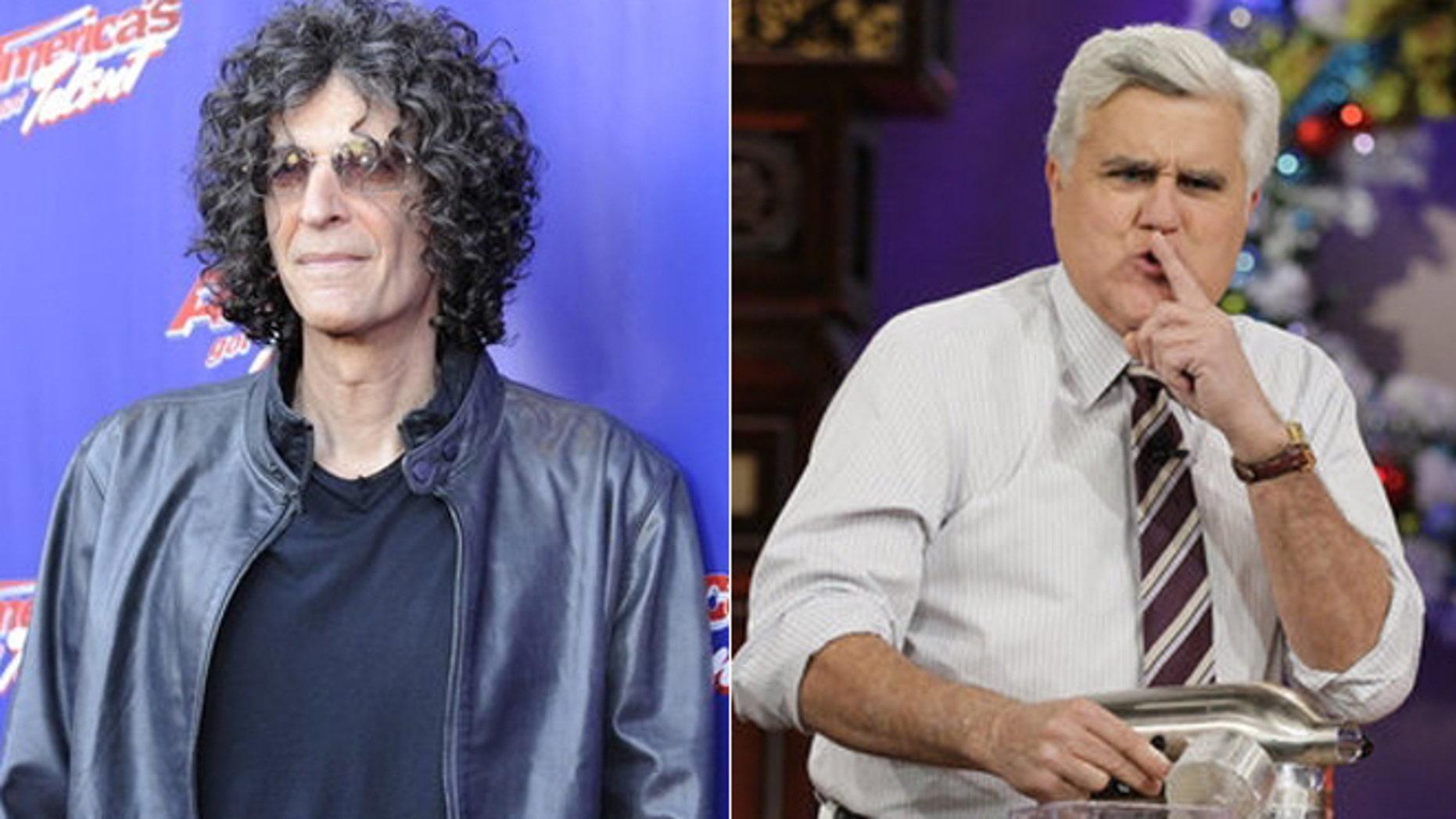 Howard Stern, left, and Jay Leno.