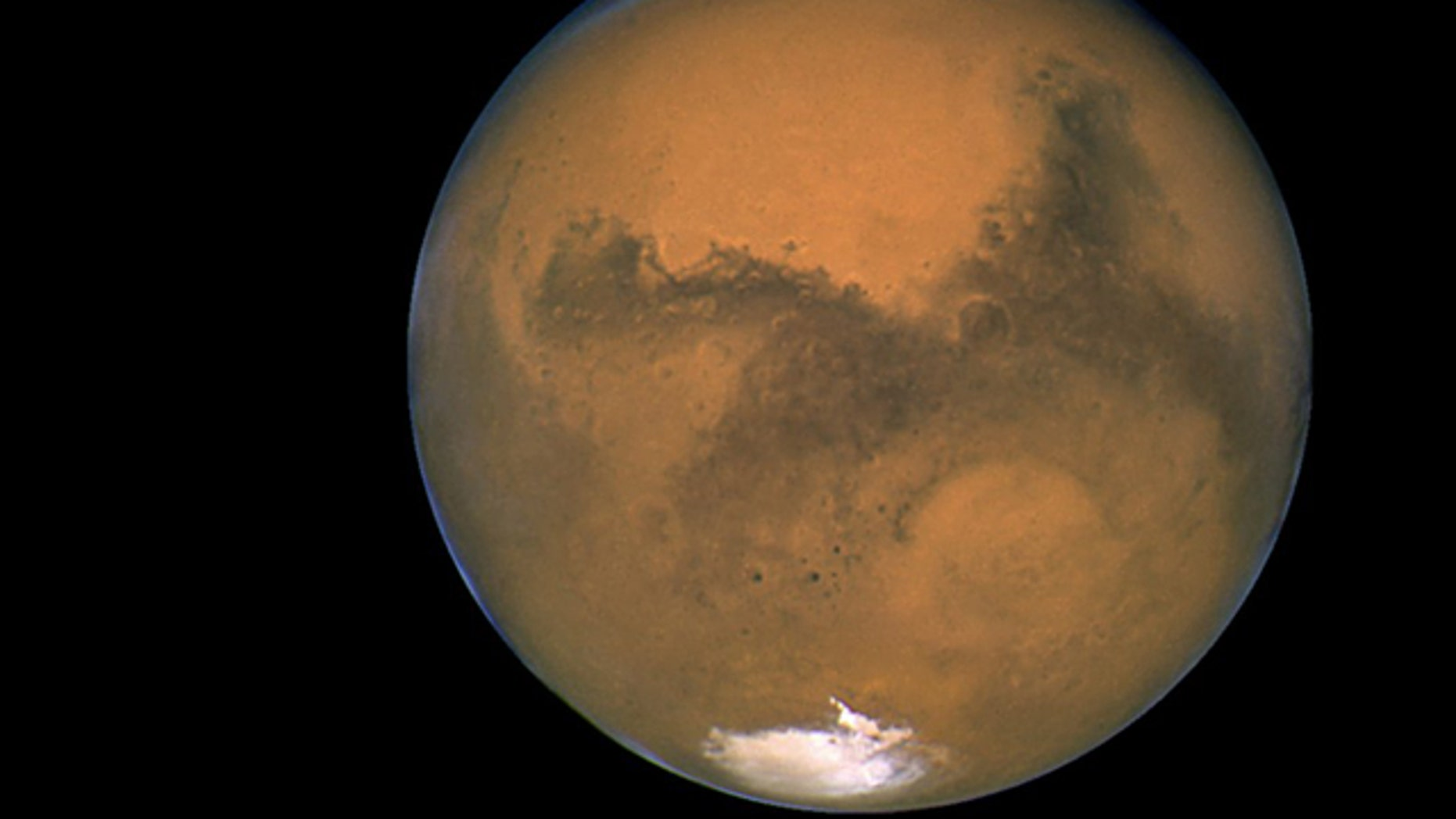 NASA's Hubble Space Telescope took this close-up of the red planet Mars when it was just 34,648,840 miles away, in 2003.