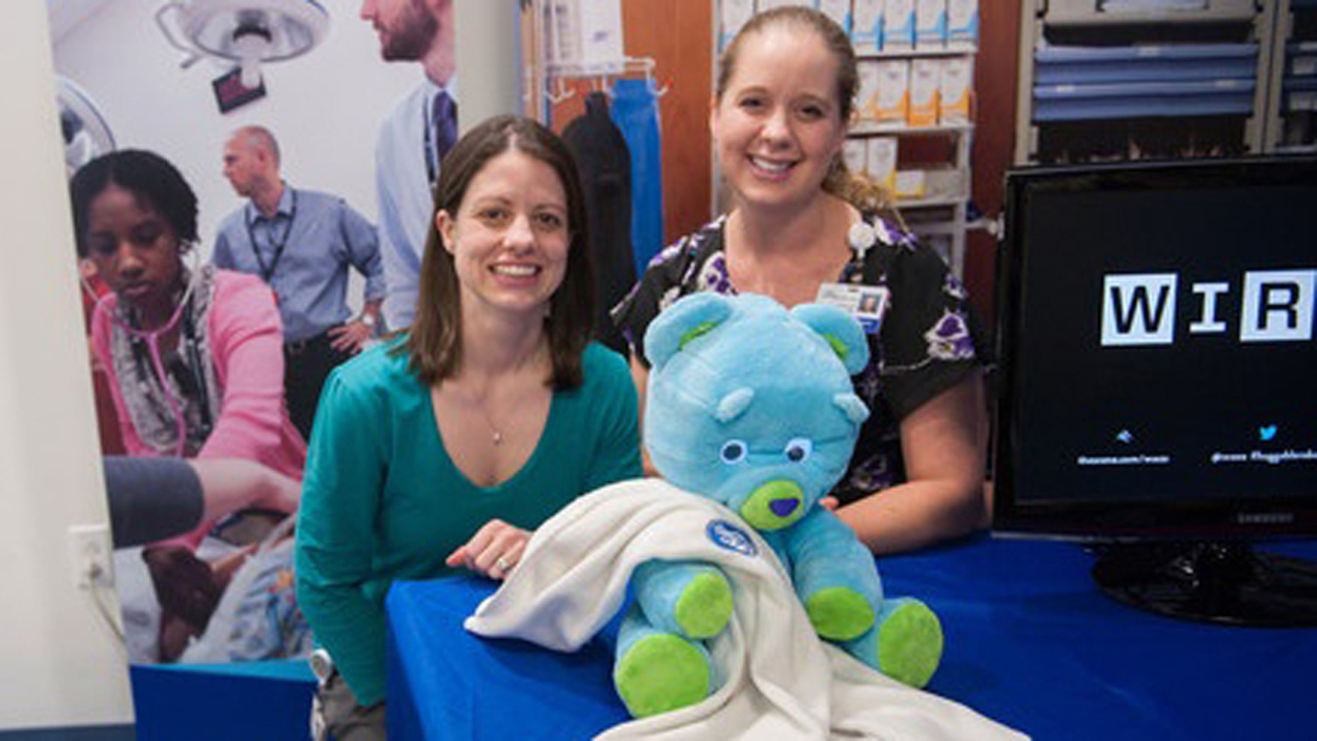 Huggable pictured at a recent innovators' showcase at Boston Children's Hospital.