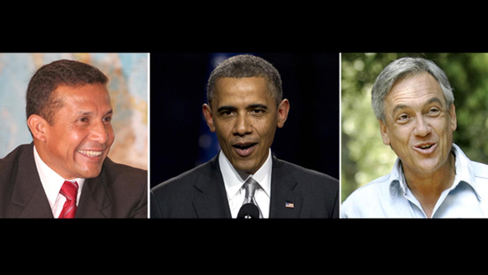 This is a photo composite of Peruvian President Ollanta Humala (left, U.S. President Barack Obama (center) and Chilean President Sebastián Piñera.