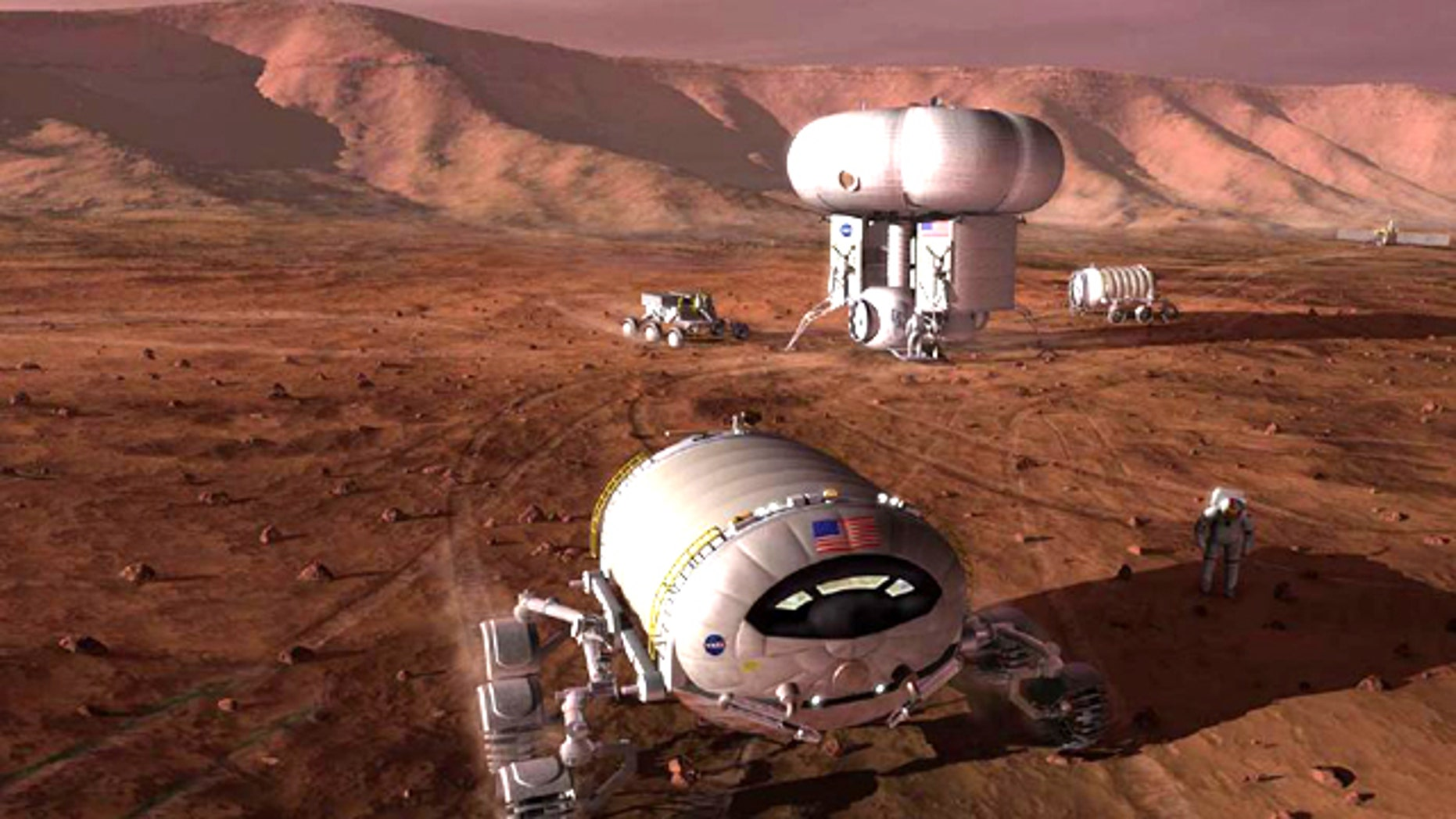 A conceptual illustration depicts what a manned mission to Mars may look like.