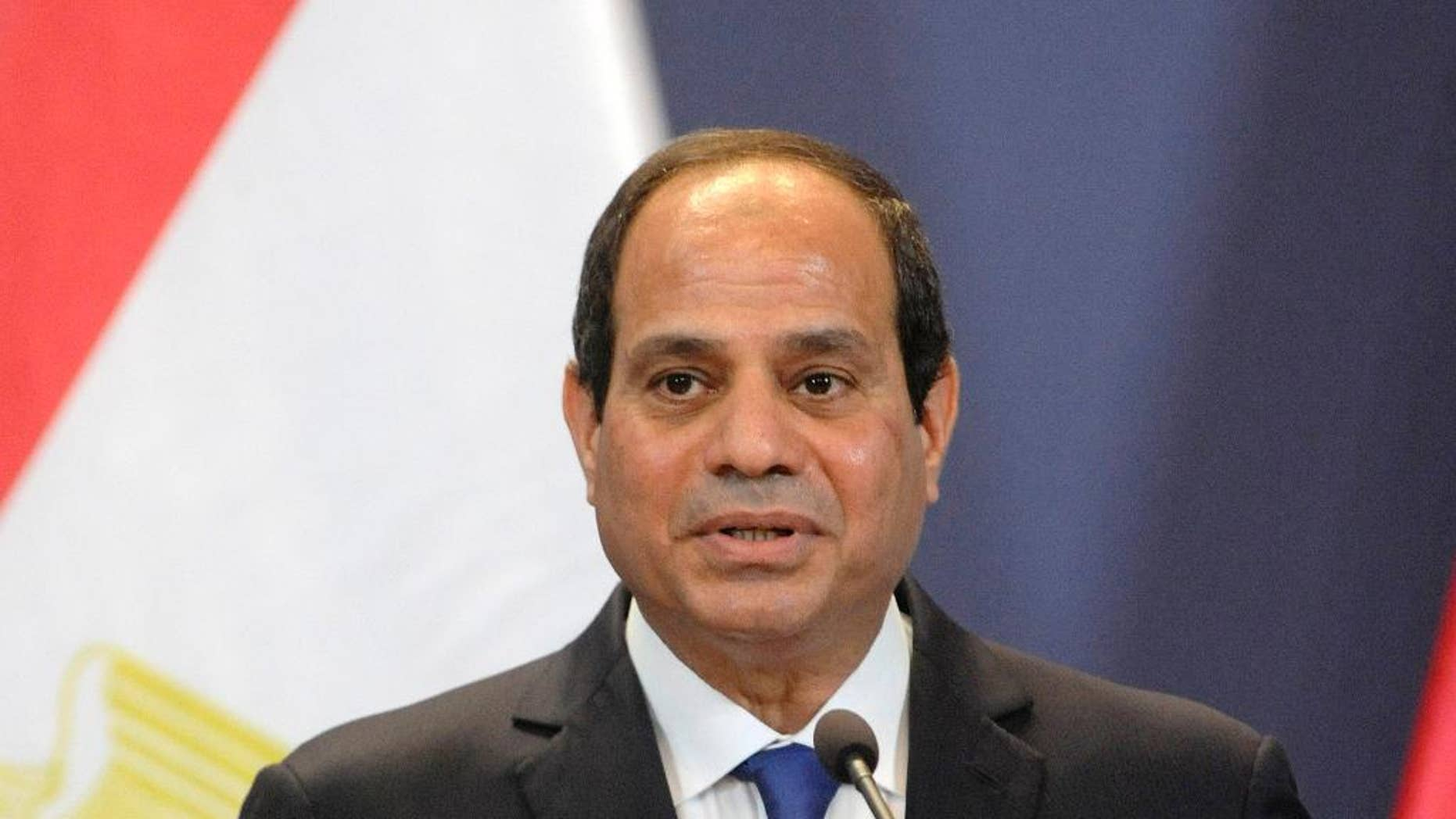 Egyptian President Abdel Fattah el-Sissi speaks during a joint press conference with Hungarian Prime Minister Viktor Orban in the Parliament building in Budapest, Hungary, Friday, June 5, 2015. El-Sissi is staying on a two-day visit in Hungary. (Zoltan Mathe/MTI via AP)