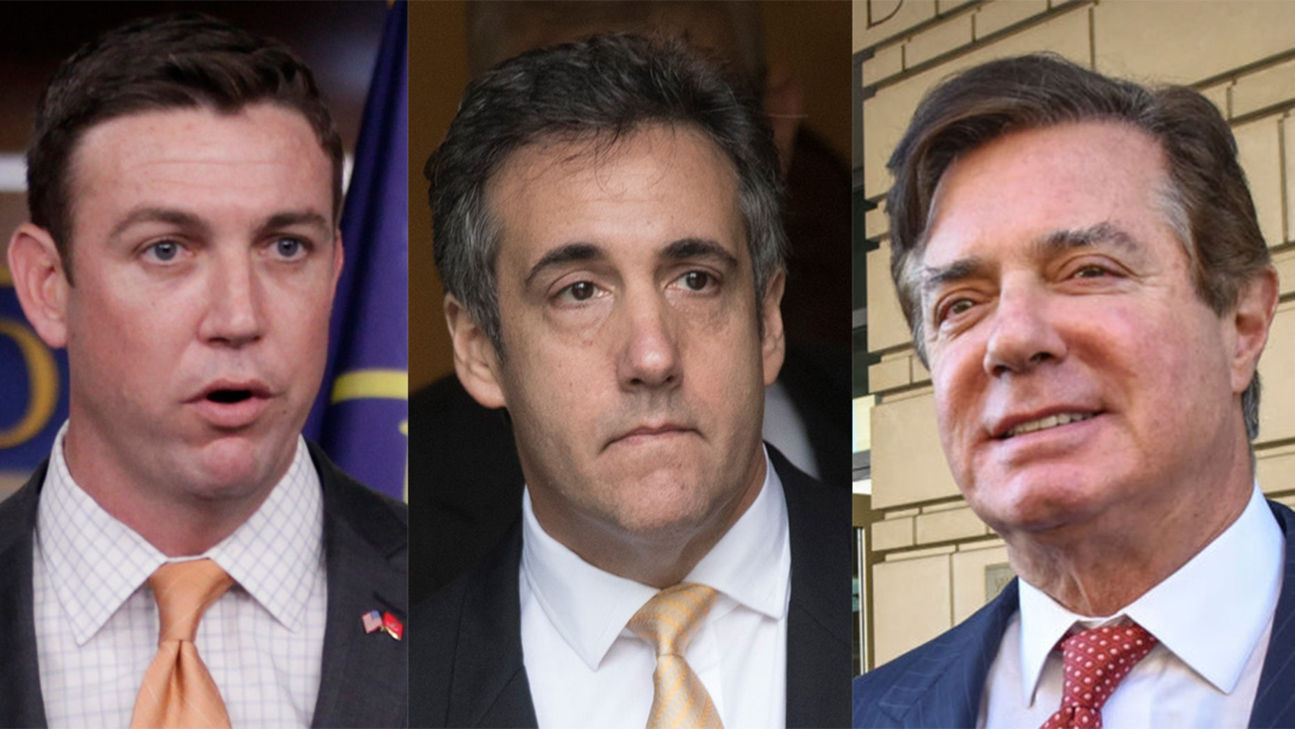 On Tuesday, Rep. Duncan Hunter, R-Calif., was indicted for allegedly using campaign funds for personal use, left; Michael Cohen, middle, pleaded guilty to tax evasion, as well as violating campaign finance law; and Paul Manafort, right, was convicted on 8 counts.
