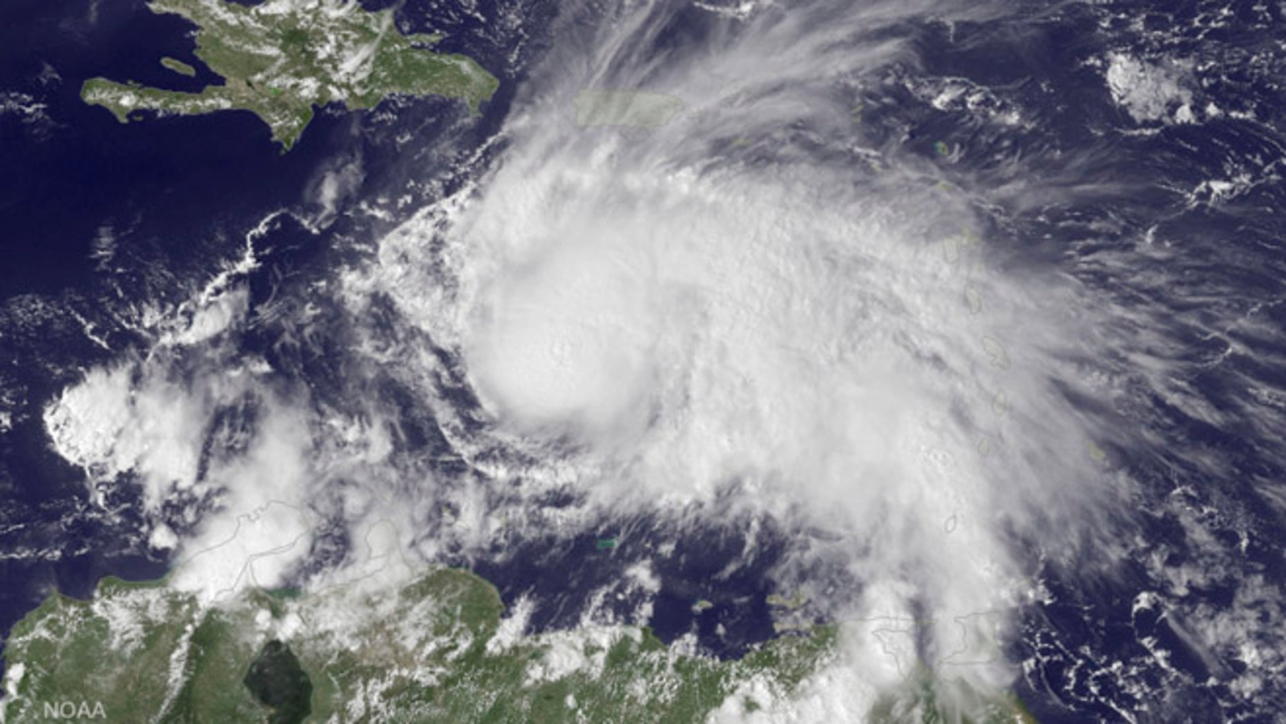 The GOES East satellite image provided by the National Oceanic and Atmospheric Administration (NOAA) on Thursday, Sept. 29, 2016 at 2:45 p.m. EDT, shows Hurricane Matthew in the Caribbean Sea about 190 miles northeast of Curacao. Matthew, one of the most powerful Atlantic hurricanes in recent history, weakened a little on Saturday, Oct. 1, 2016, as it drenched coastal Colombia and roared across the Caribbean on a course that still puts Jamaica, Haiti and Cuba in the path of potentially devastating winds and rain. (NOAA via AP)