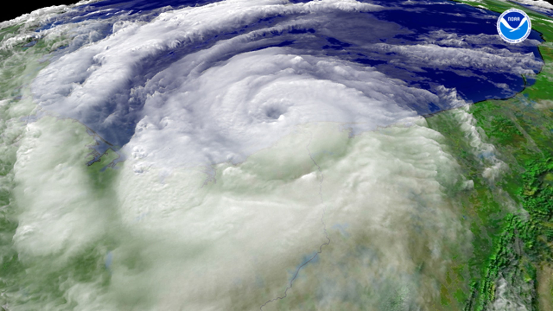 National Oceanographic and Atmospheric Agency satellites capture Hurricane Dolly from outer space on July 23, 2008.