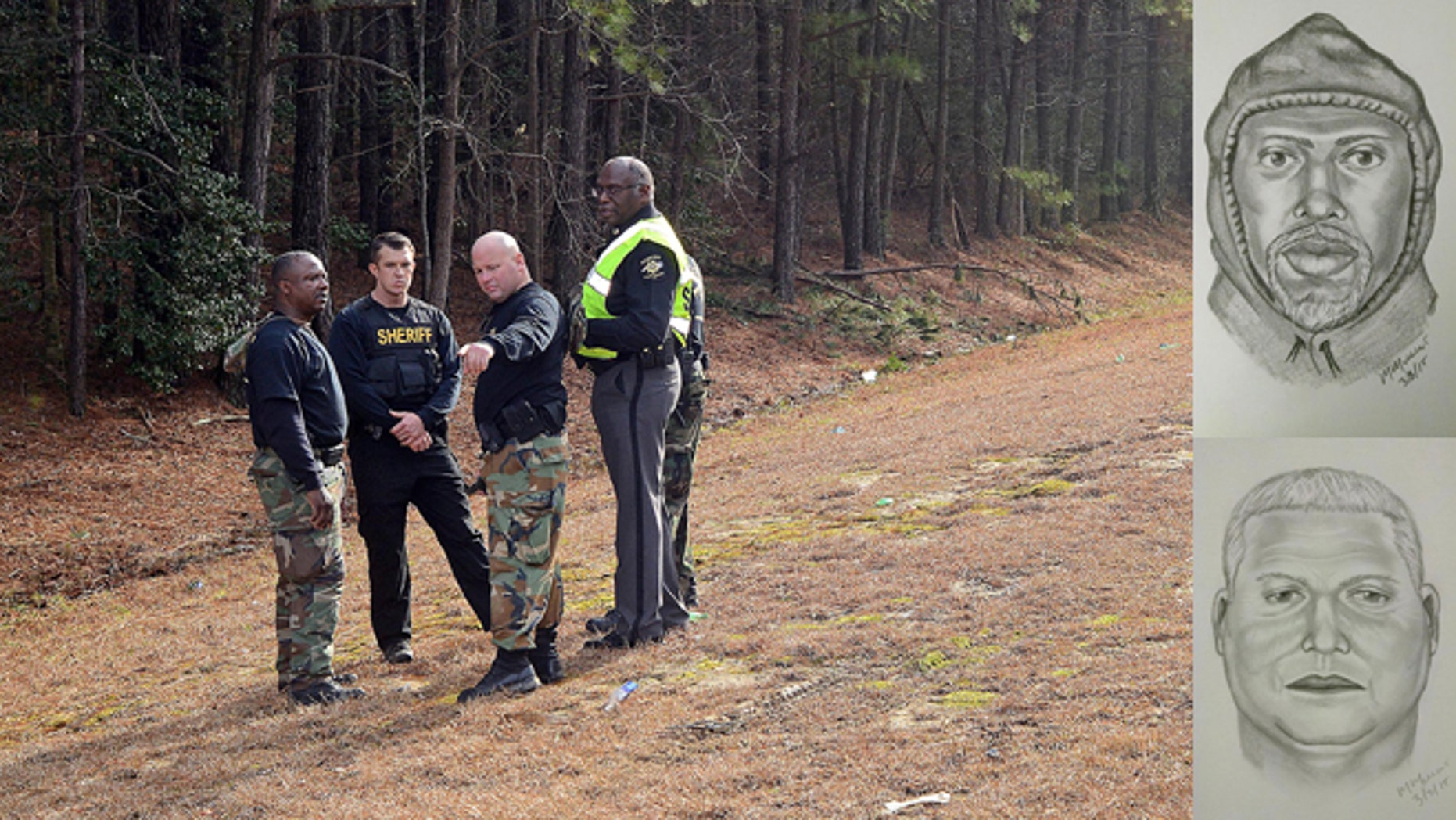 Wilson County Sheriff's Deputies investigate an area near Interstate 95, Monday, March 2, 2015, in Wilson, (AP Photo/The Wilson Times, Brad Coville) Inset: These images released Wednesday, March 4, 2015, by the Sheriff's Office, show composite sketches by investigators of two of the suspects in the heist. (AP Photo/Wilson County Sheriff's Office)