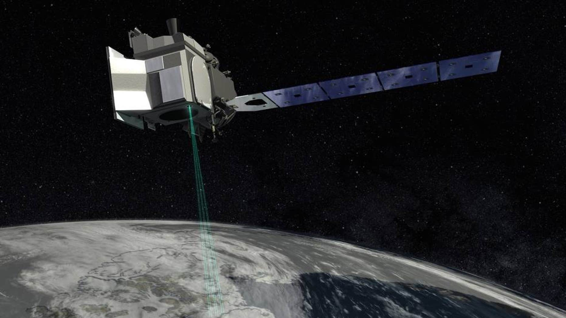 An artist's depiction of the ICESat-2 satellite at work studying Earth's ice sheets.