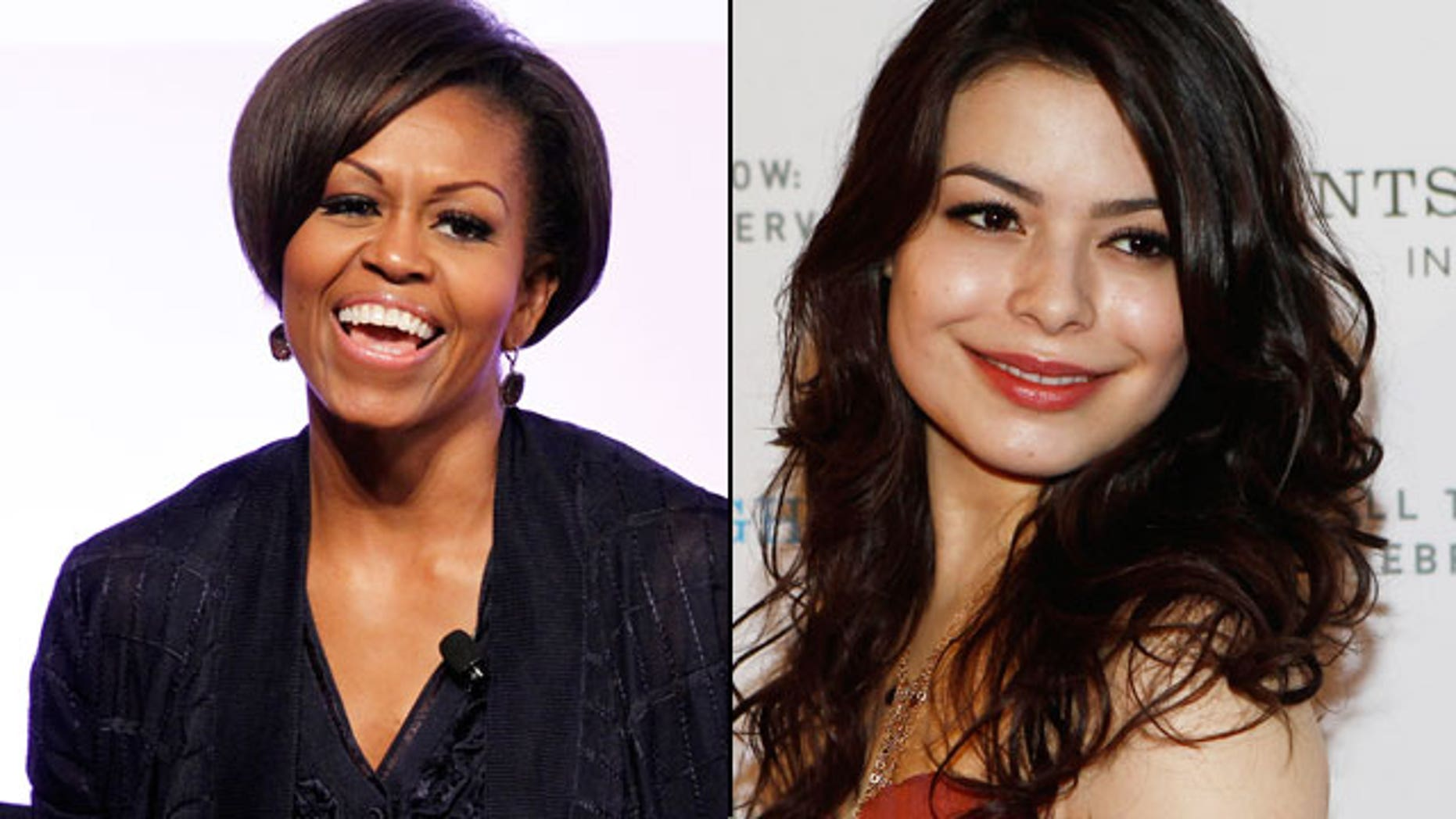 First lady Michelle Obama (left) will guest star on 'iCarly' with Miranda Cosgrove. (REUTERS)