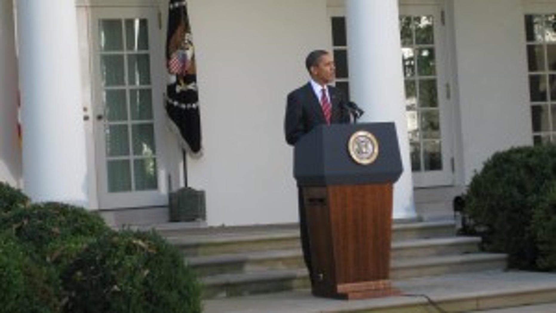 President Obama speaking in the Rose Garden (Photo by Eve Zibel)