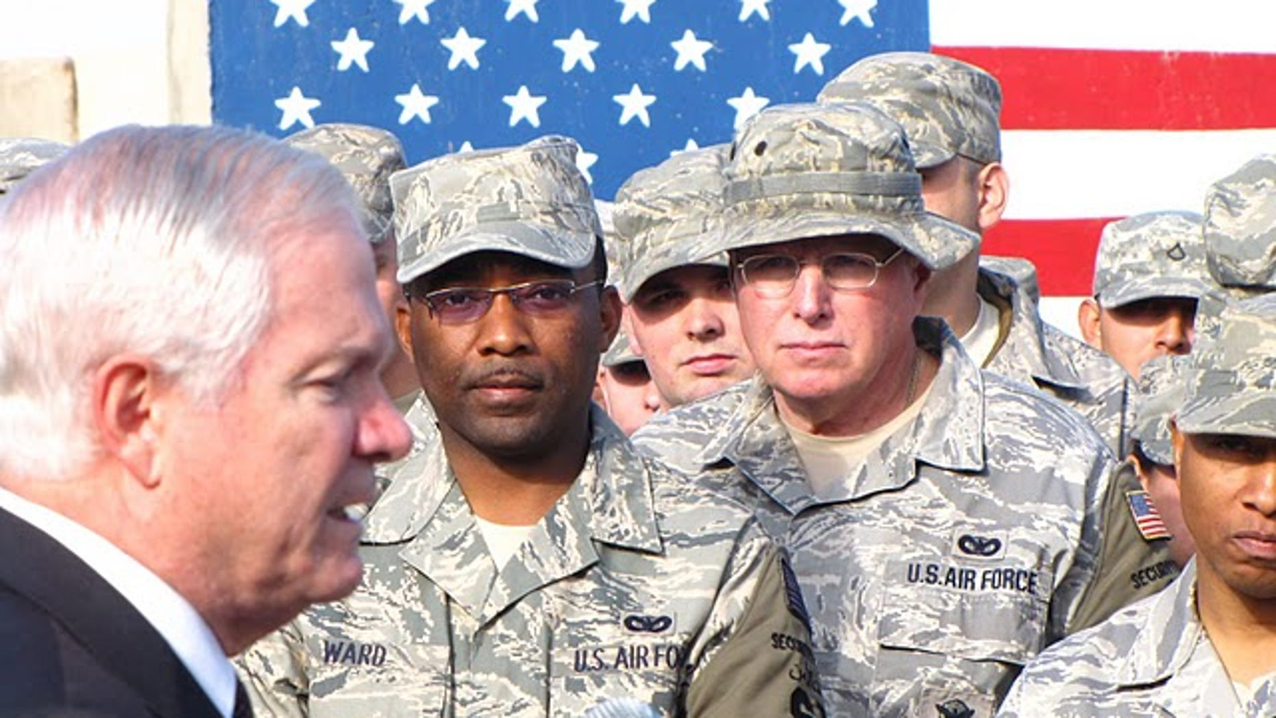 Fox News file photo, Secretary Gates with troops