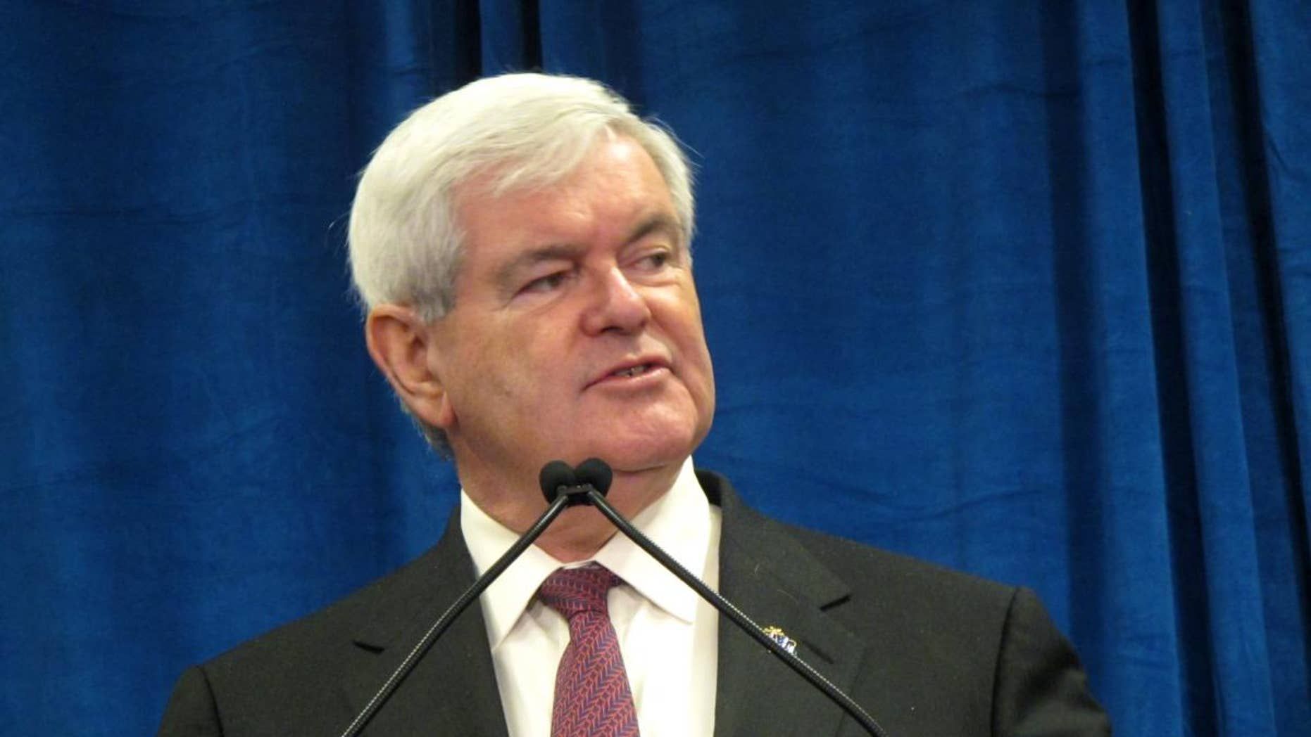 Newt Gingrich speaks to employees of Nationwide Insurance before signing the Americans for Securing the Border's Fence Pledge  (Fox)