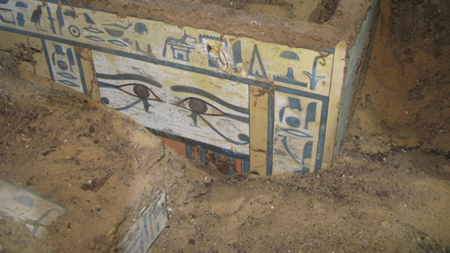 The coffin of Sattjeni in her tomb.