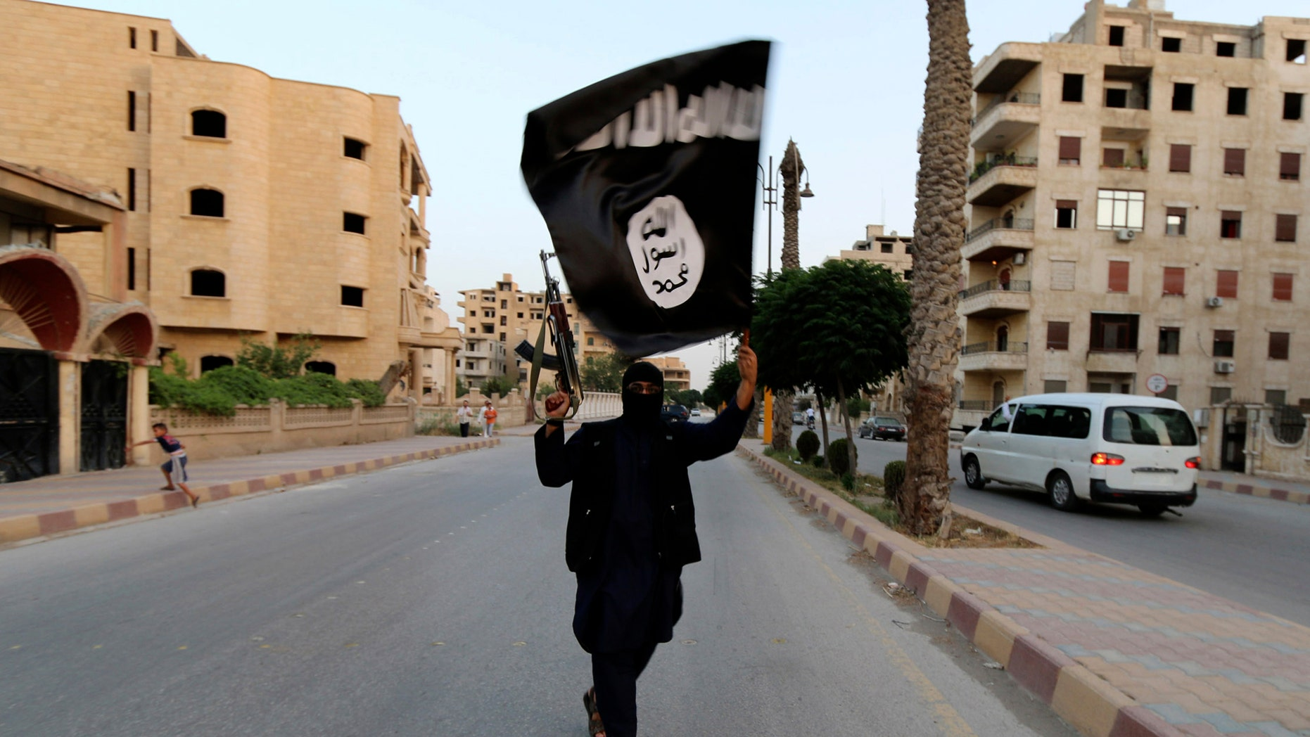 File photo - A member loyal to the Islamic State waves an ISIS flag in Raqqa June 29, 2014.